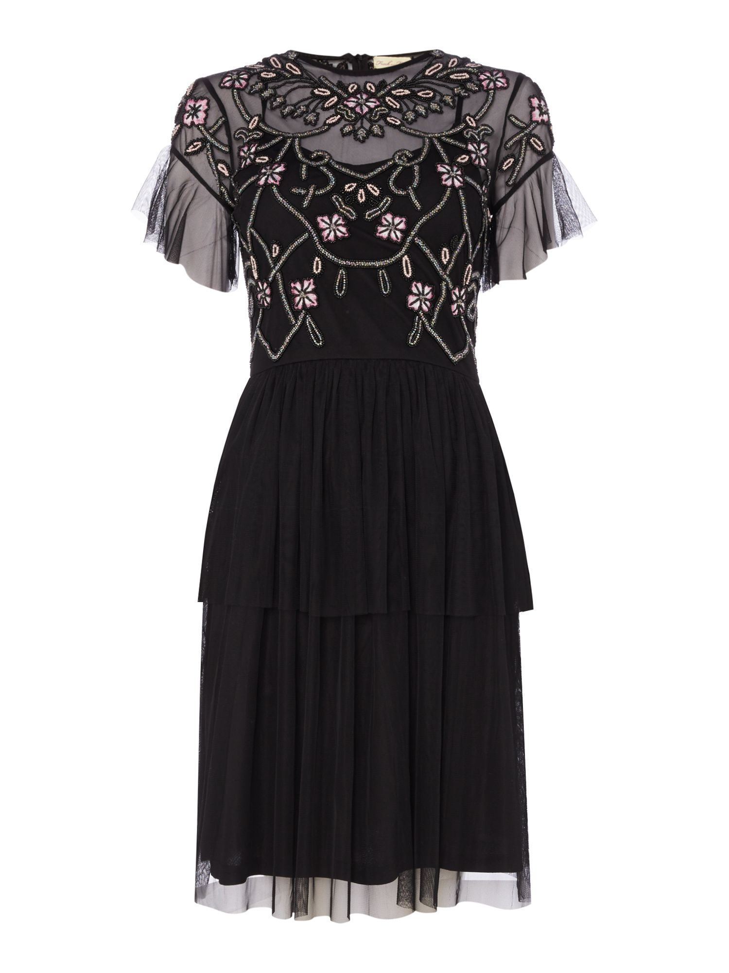 Frock and Frill Tiered fit and flare mesh dress, Black