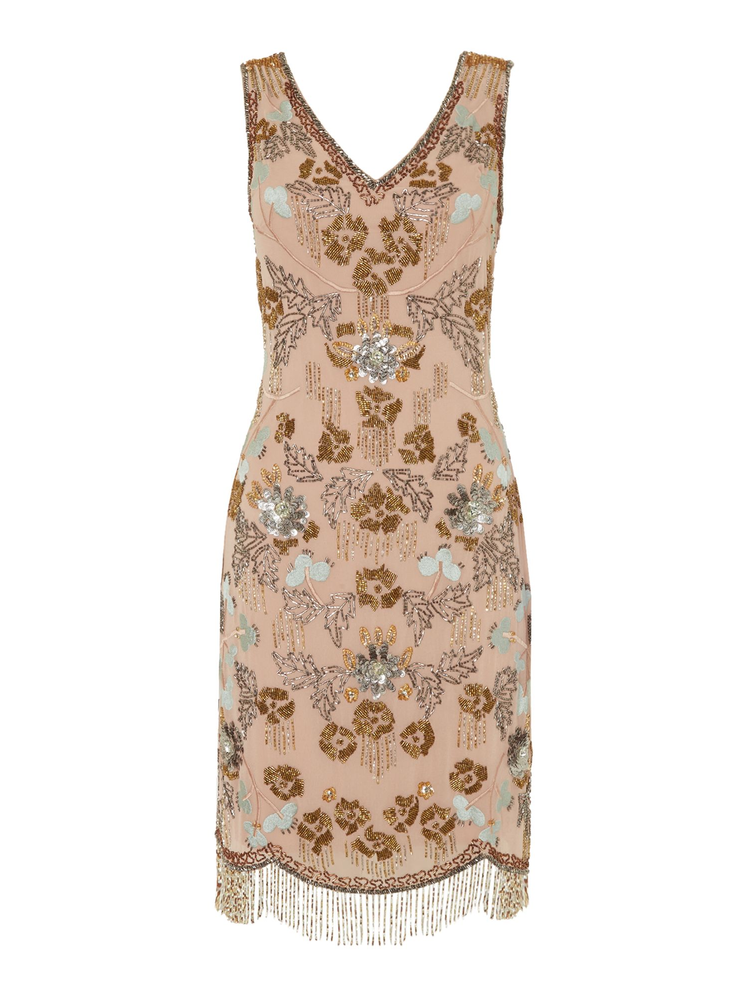 Frock and Frill V neck embroidered shift dress, Pink