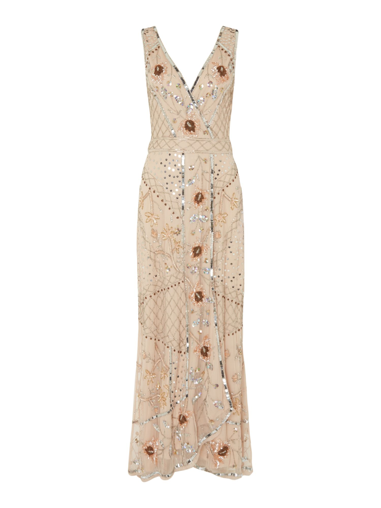 Frock and Frill V neck embroidered gown, Nude