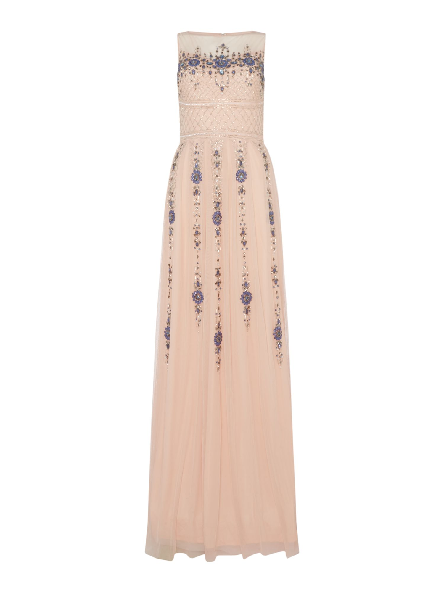 Frock and Frill High neck detailed gown, Rose
