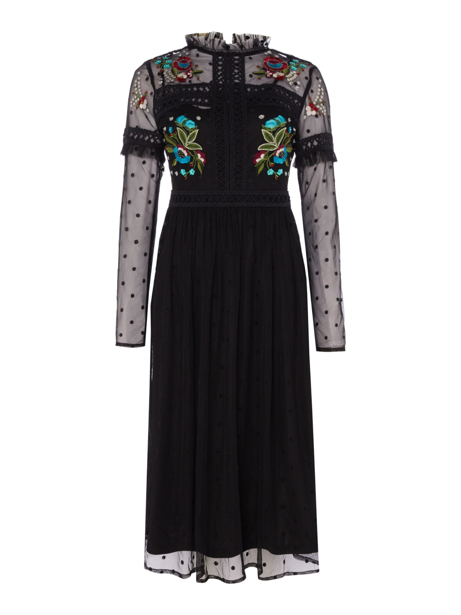 Frock and Frill Long sleeve mesh fit and flare dress, Black