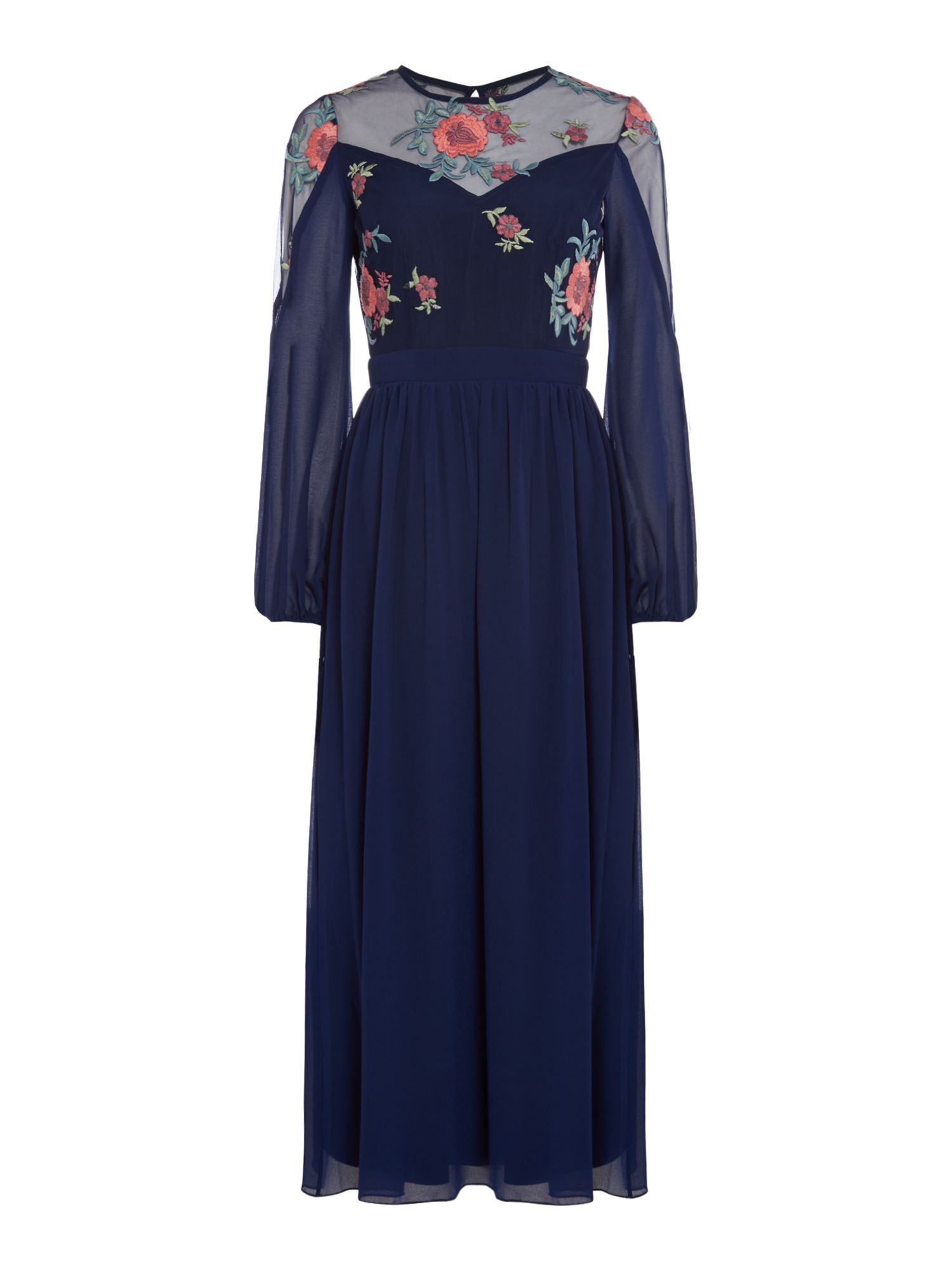Little Mistress Sleeveless lace top gown, Blue