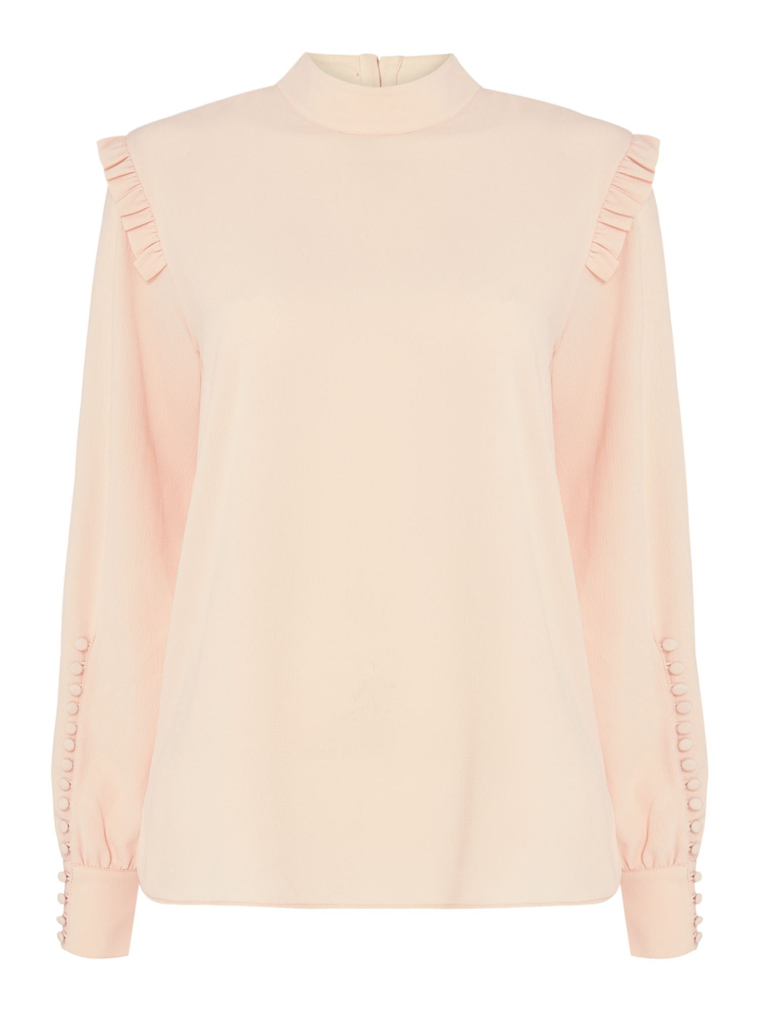 Second Female Kruse High Neck Blouse With Frill Detail, Light Pink