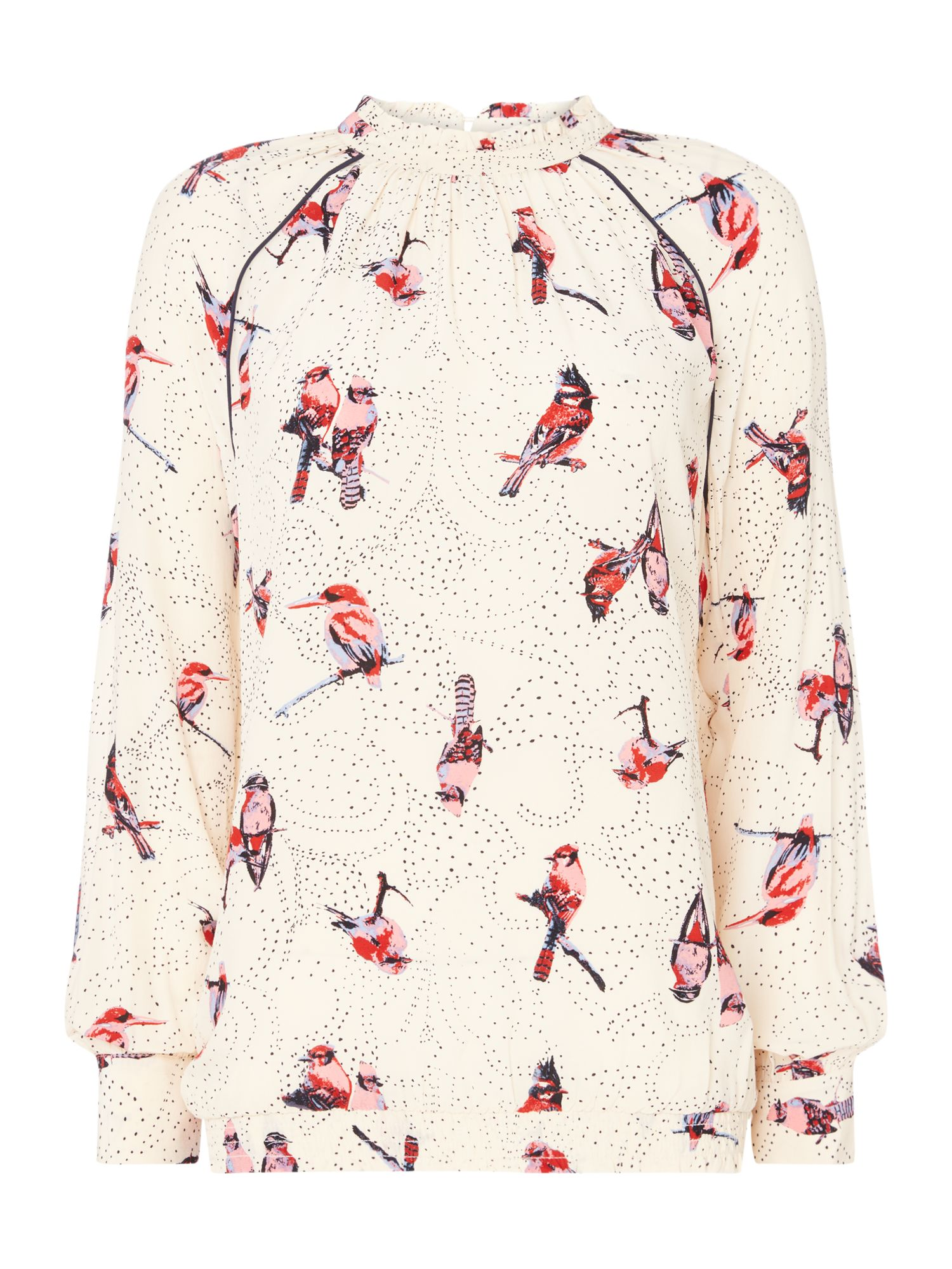 Second Female Birdie High Neck Blouse With Bird Print, Multi-Coloured