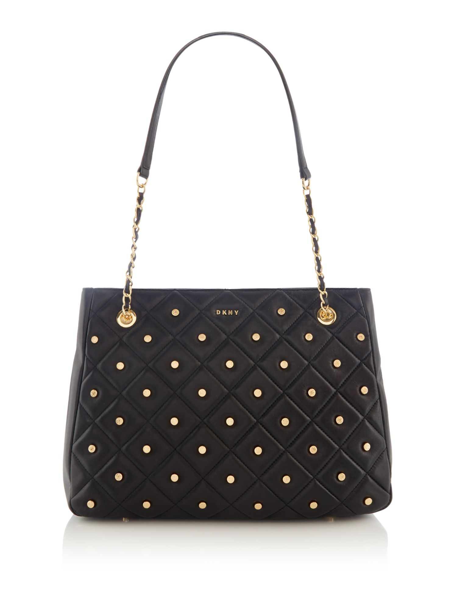 DKNY Barbara studded quilted tote, Black