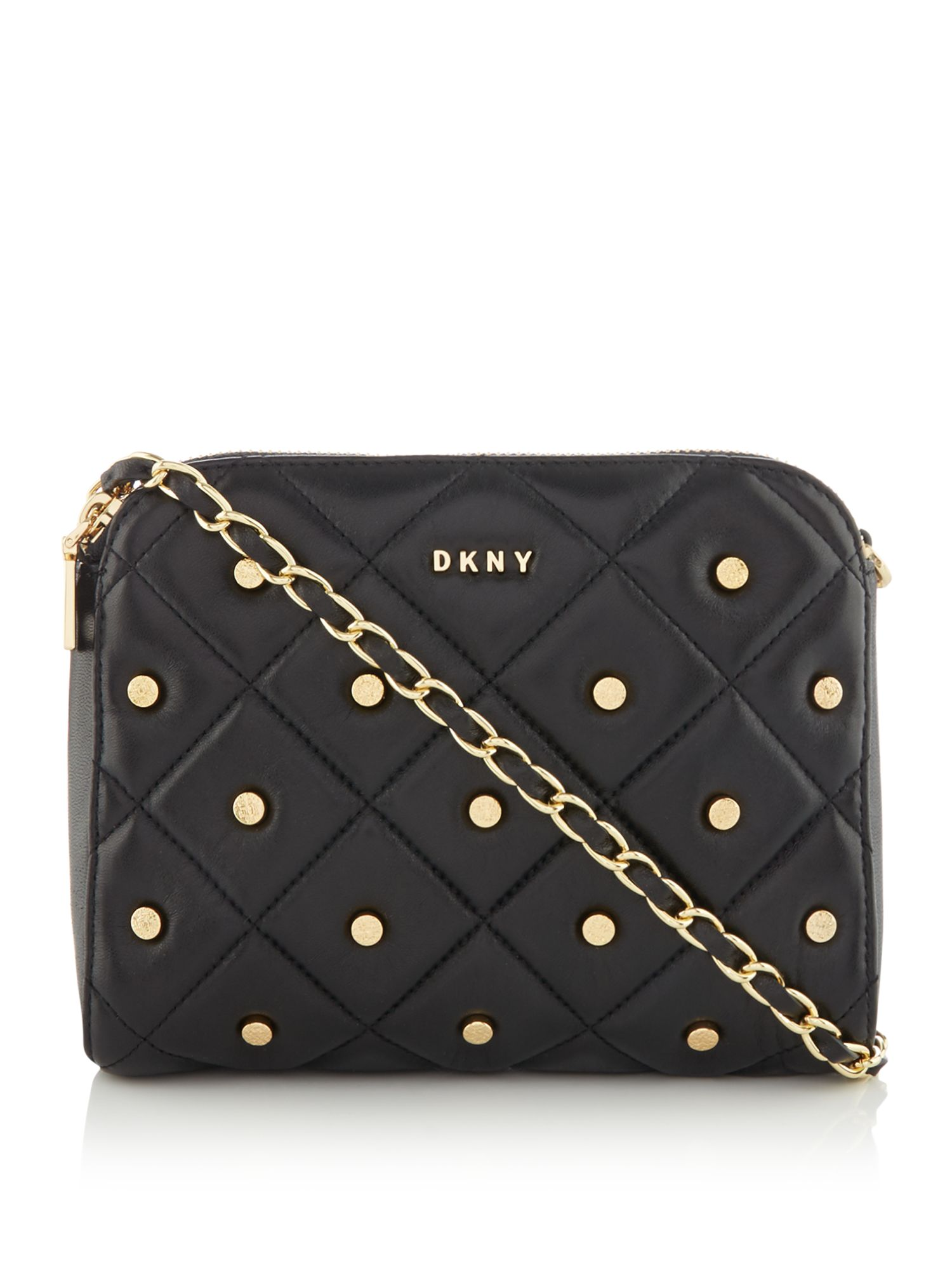 DKNY Barbara quilted stud zip cross body bag, Black