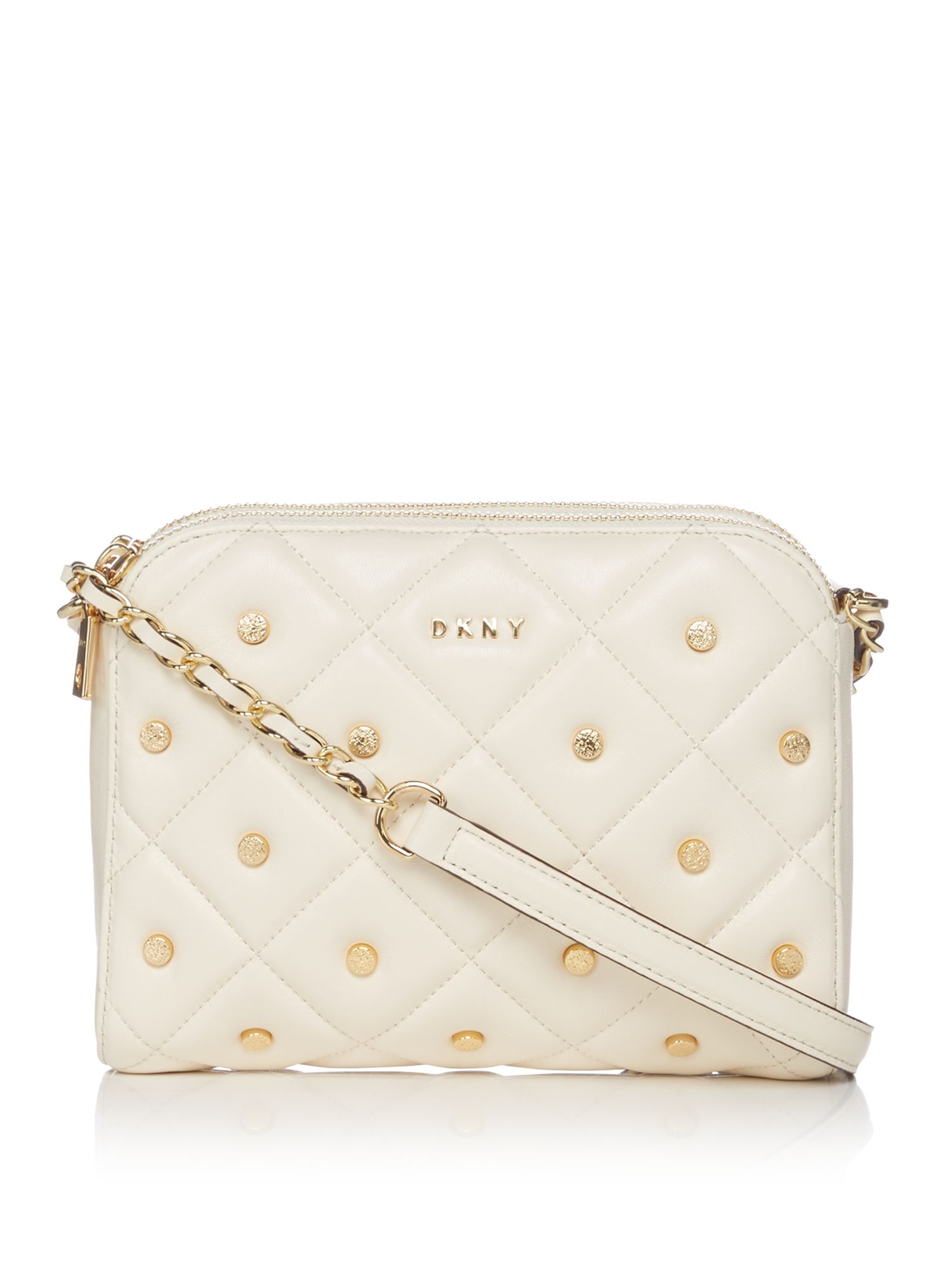 DKNY Barbara quilted stud zip cross body bag, White