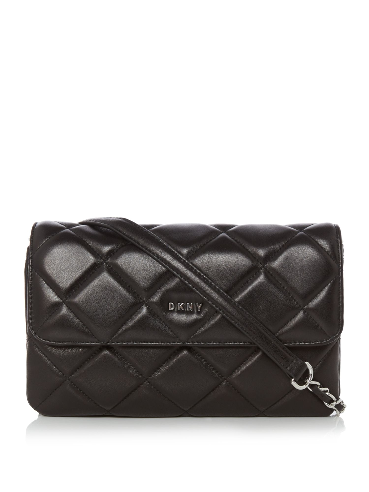 DKNY Barbara small quilted flap cross body bag, Black