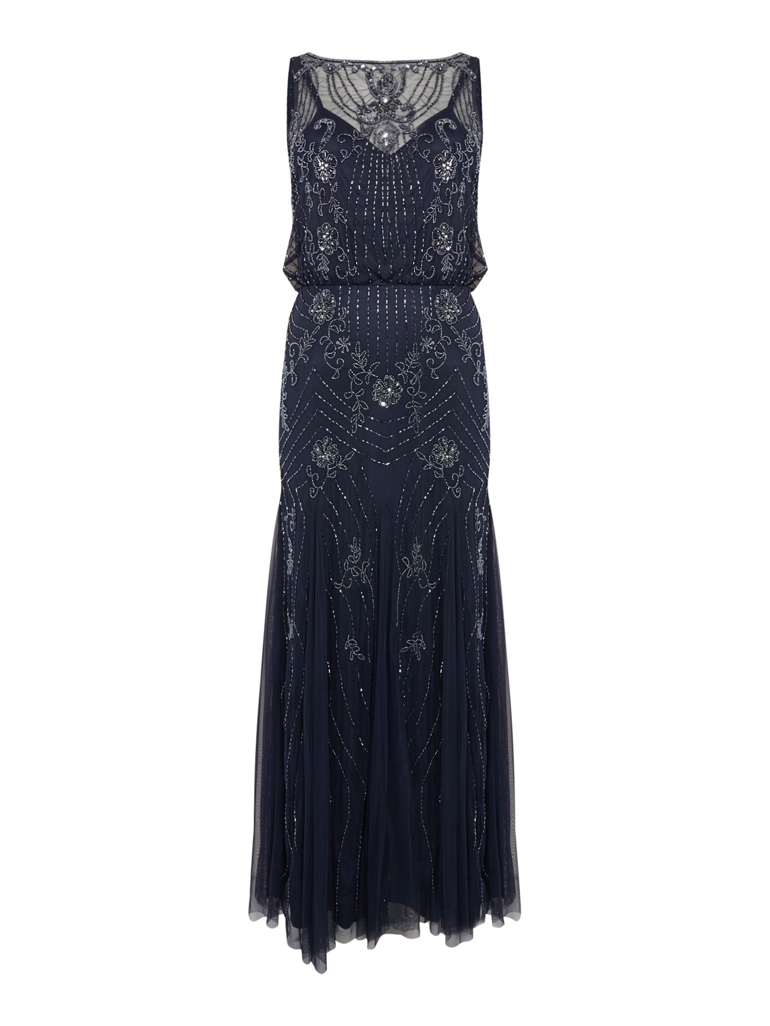 Lace and Beads High neck embellished mesh gown, Blue