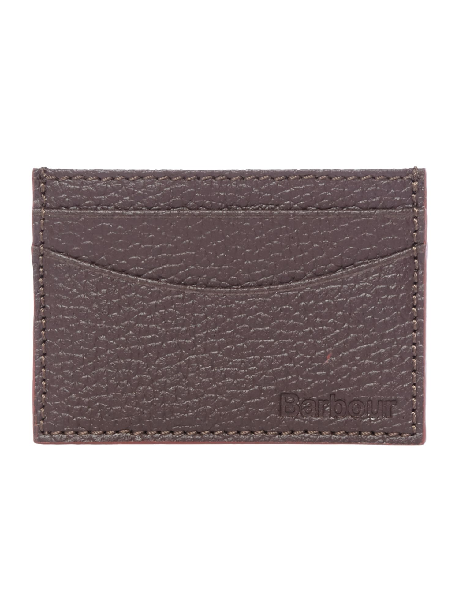 Barbour Barbour Grain Leather Card Holder, Dark Brown