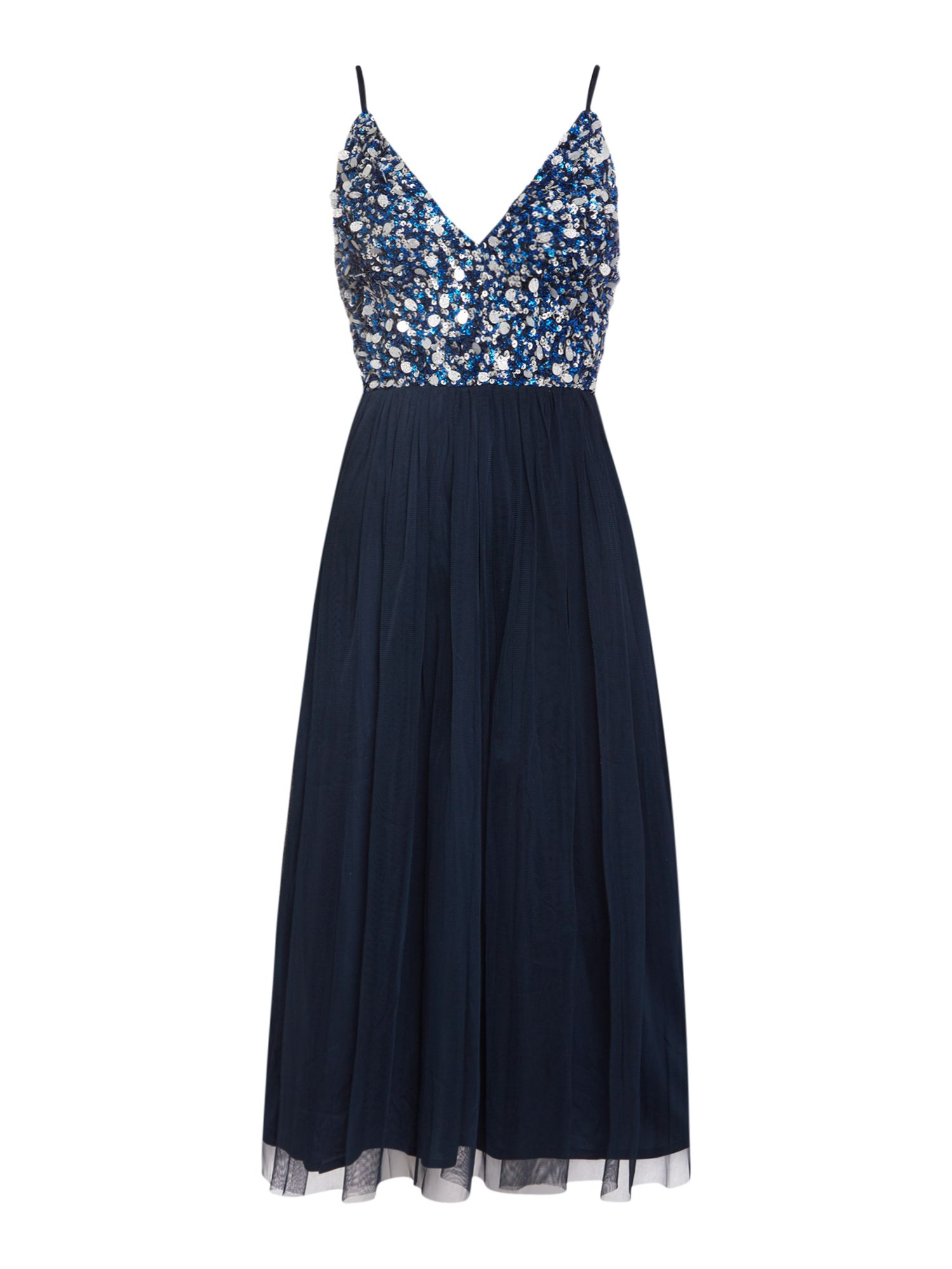 Lace and Beads Strappy low v neck maxi dress, Blue