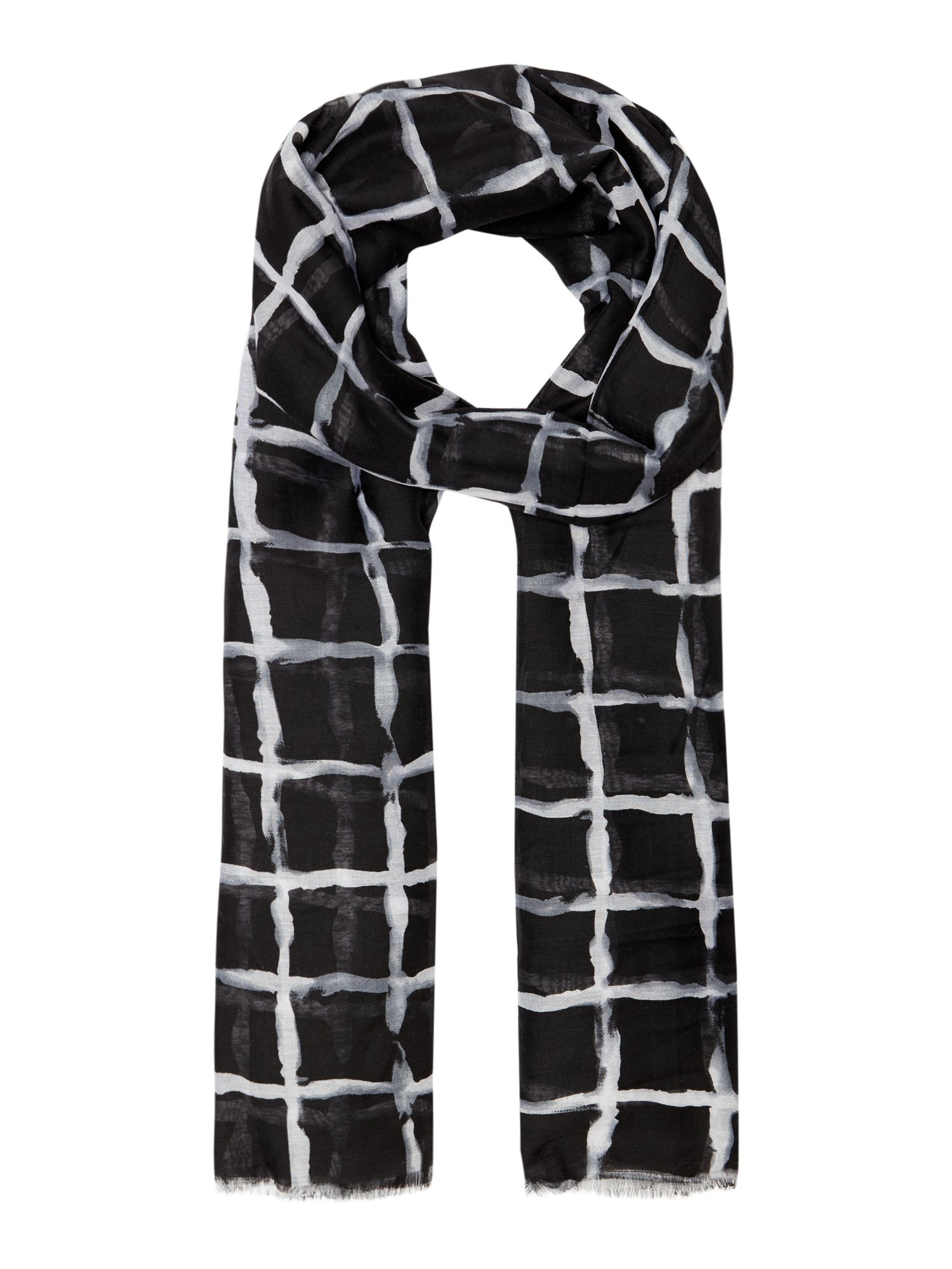 Linea Blurred check scarf, Black