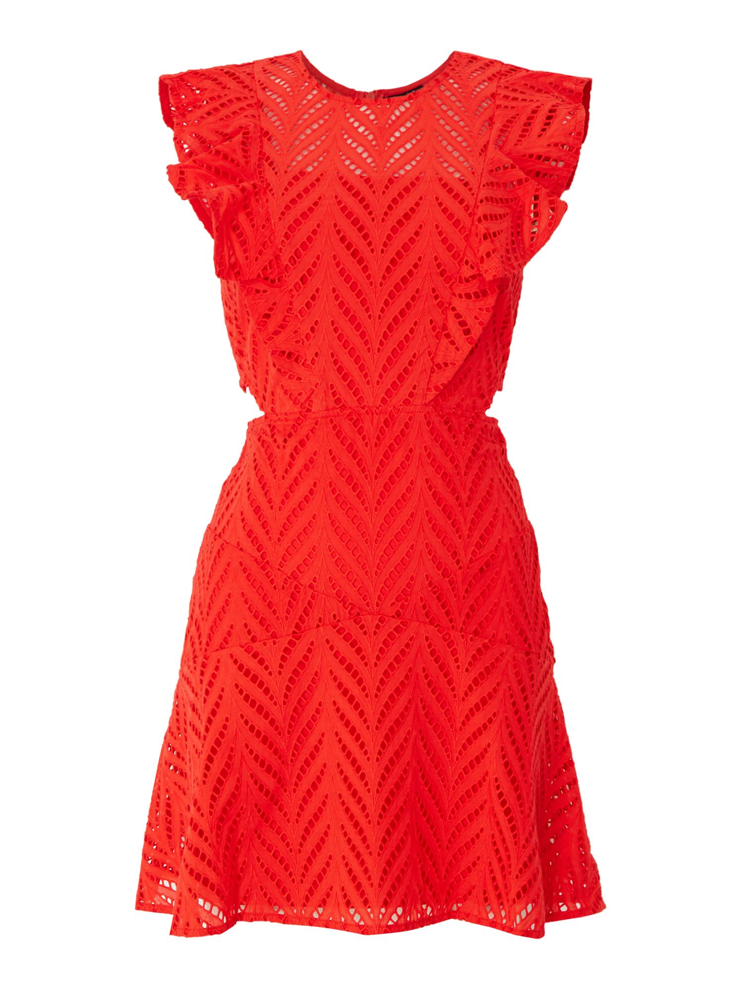 Bardot Shift dress with cut out sides, Red