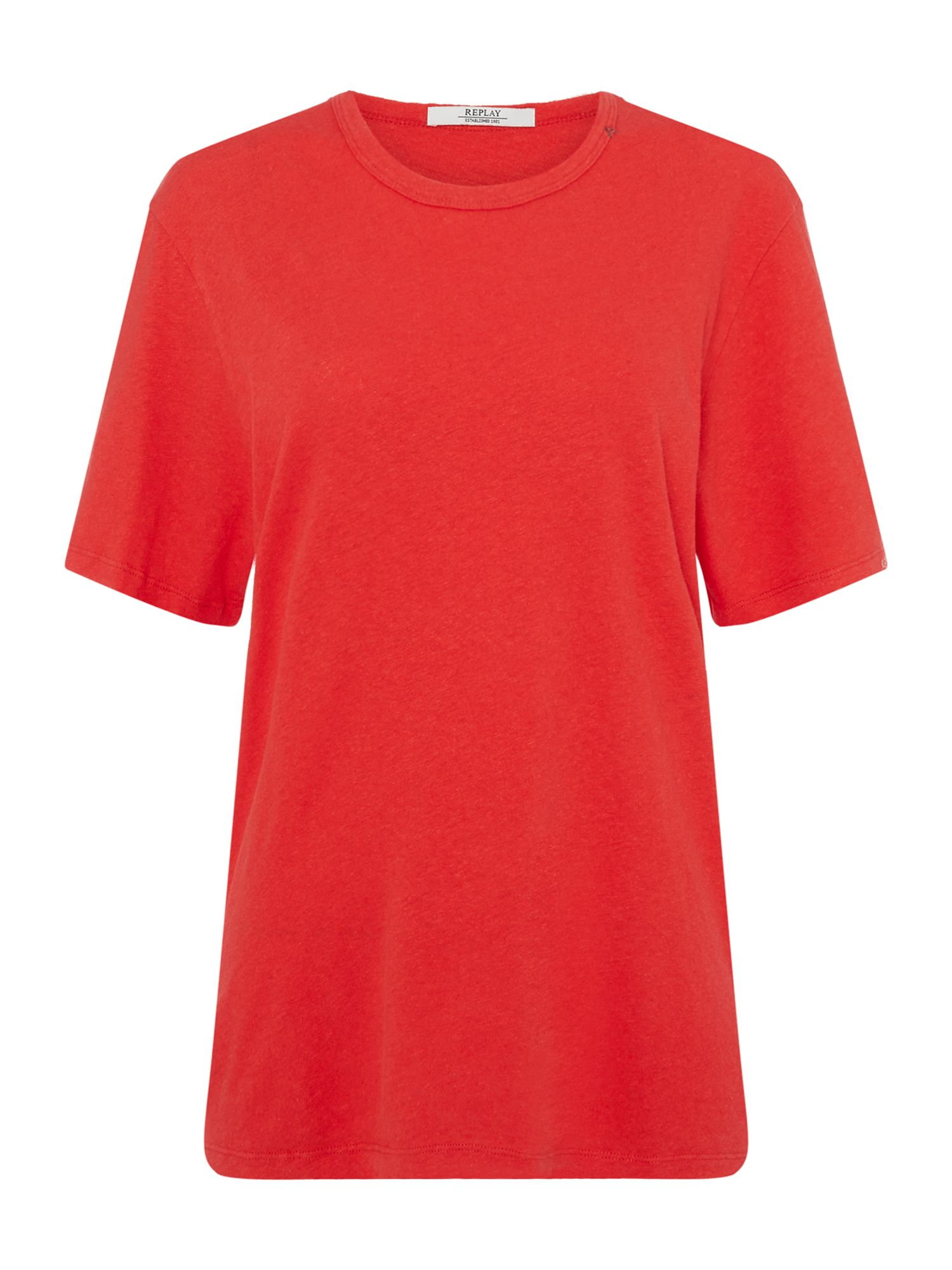 Replay Cotton Linen T-Shirt, Red