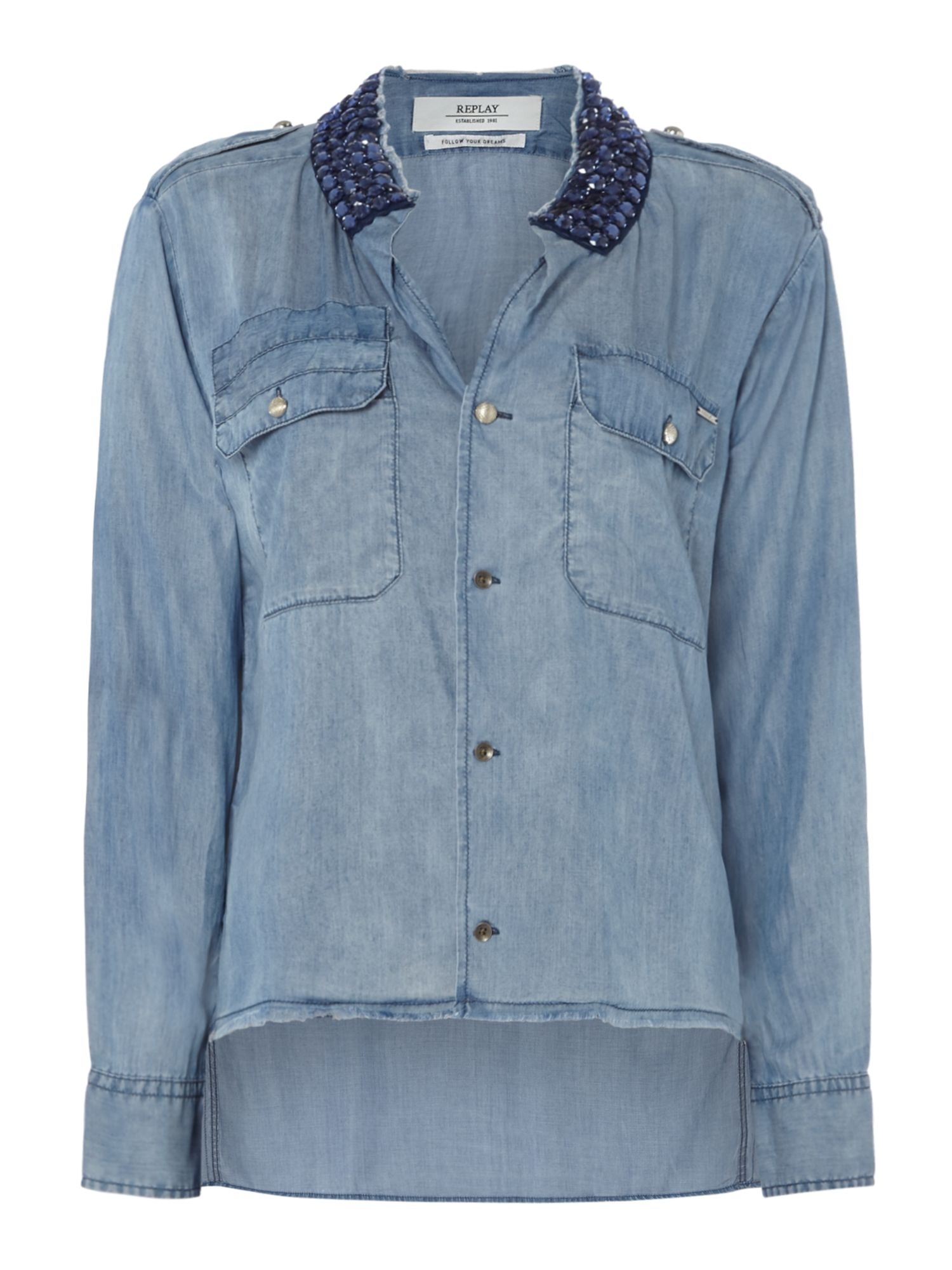 Replay Tencel Denim Shirt With Rhinestones, Blue