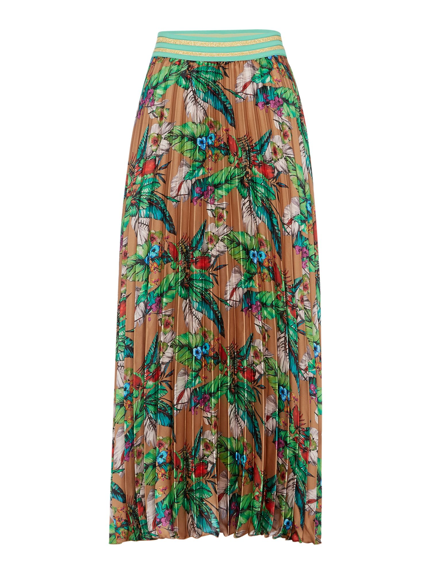Replay Long Pleated Floral Skirt, Multi-Pastel