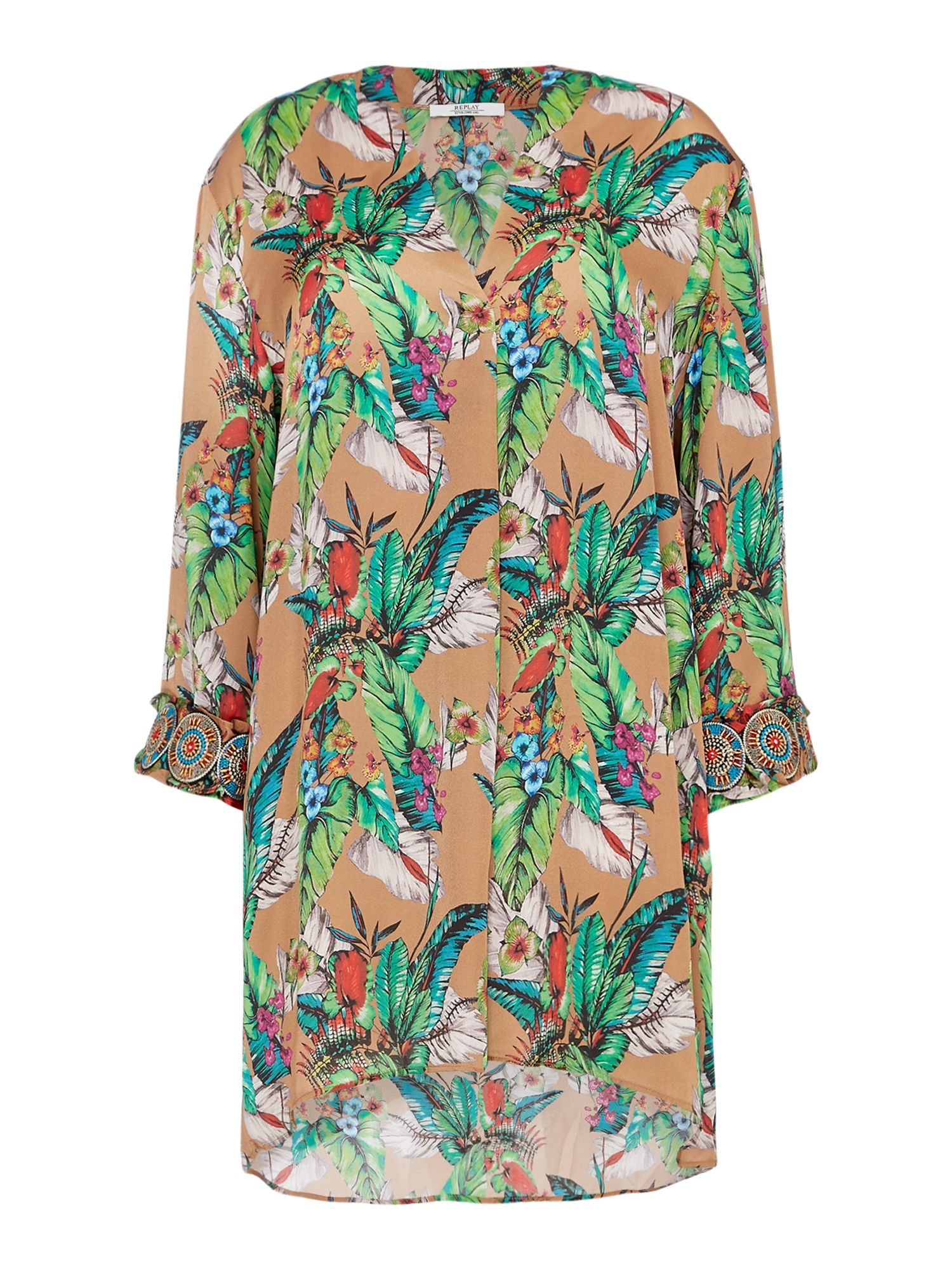 Replay Cotton And Viscose Floral Blouse, Multi-Coloured