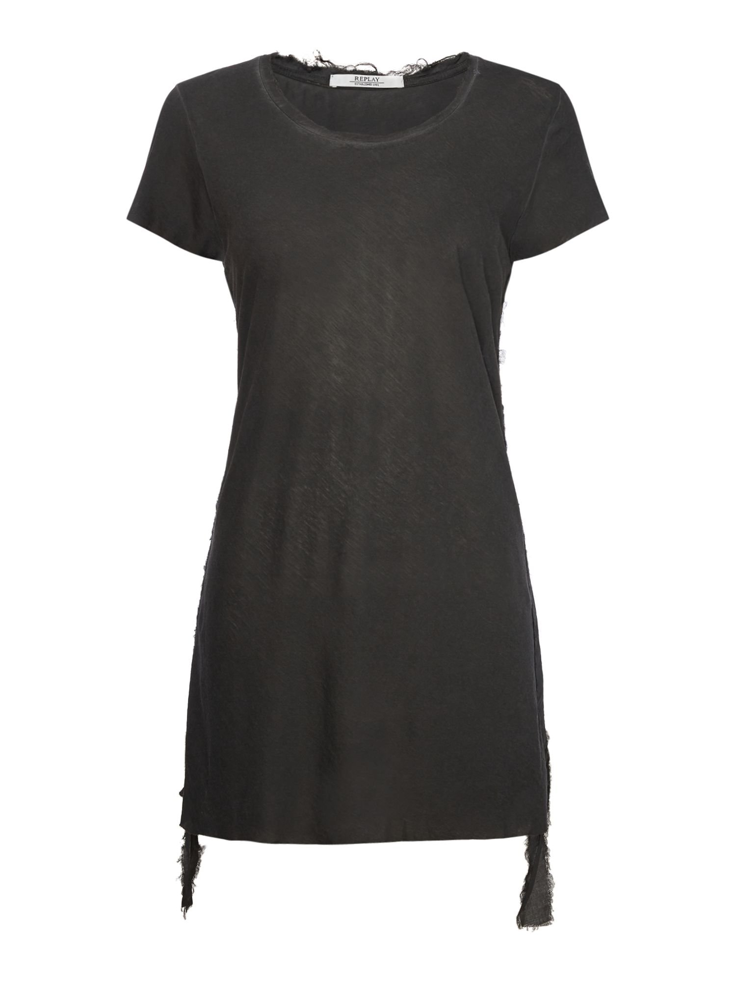 Replay Longline T-Shirt With Side Straps, Nearly Black