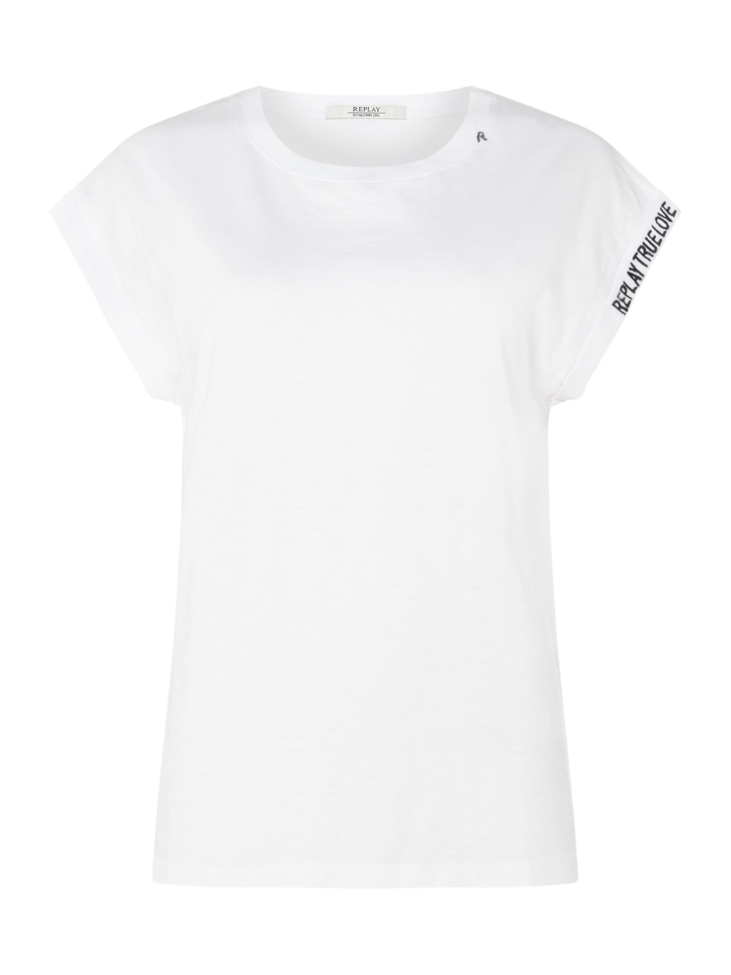Replay Slub Jersey T-Shirt With Embroidery, Optical White