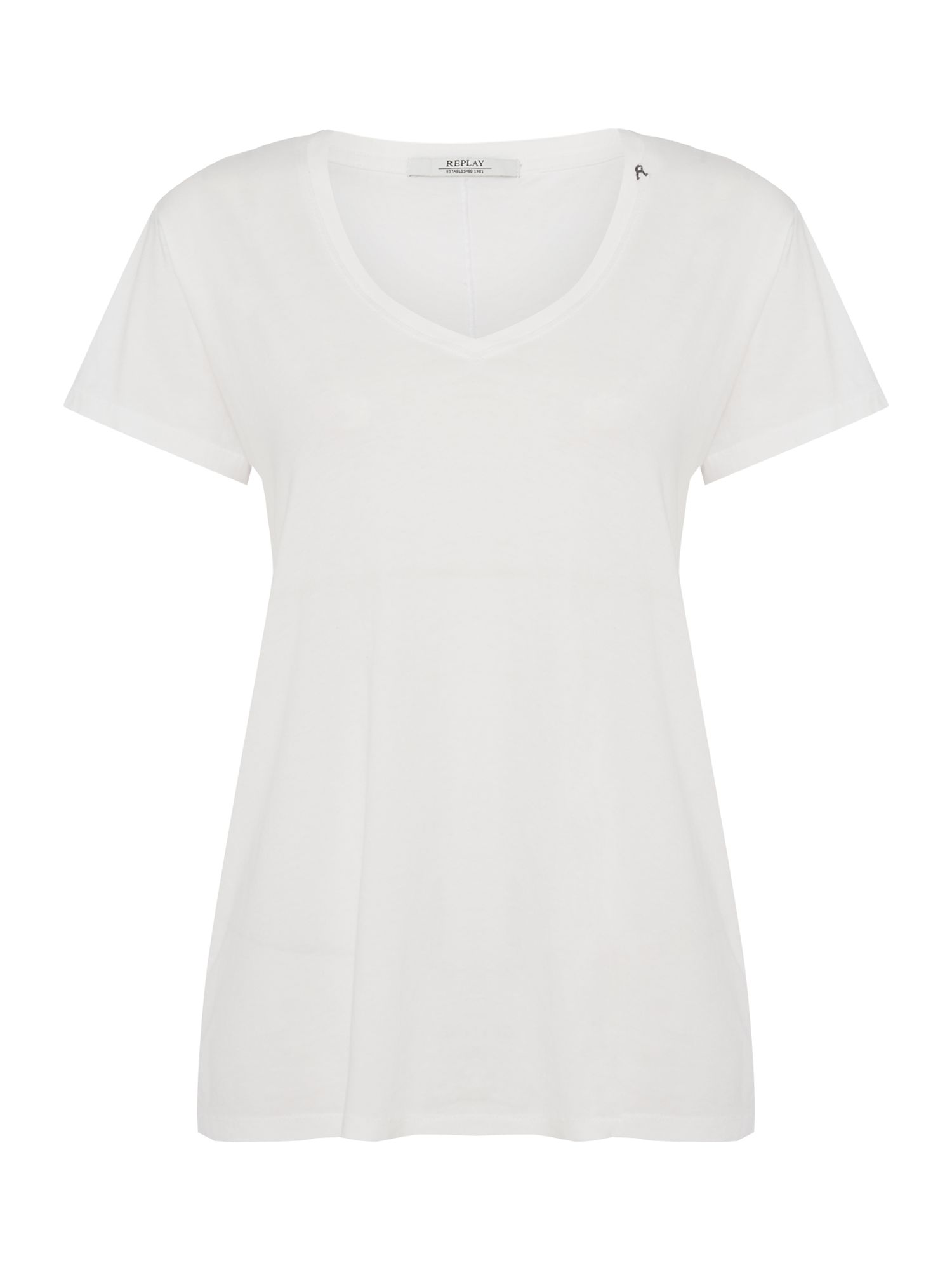 Replay Garment-Dyed Cotton T-Shirt, White