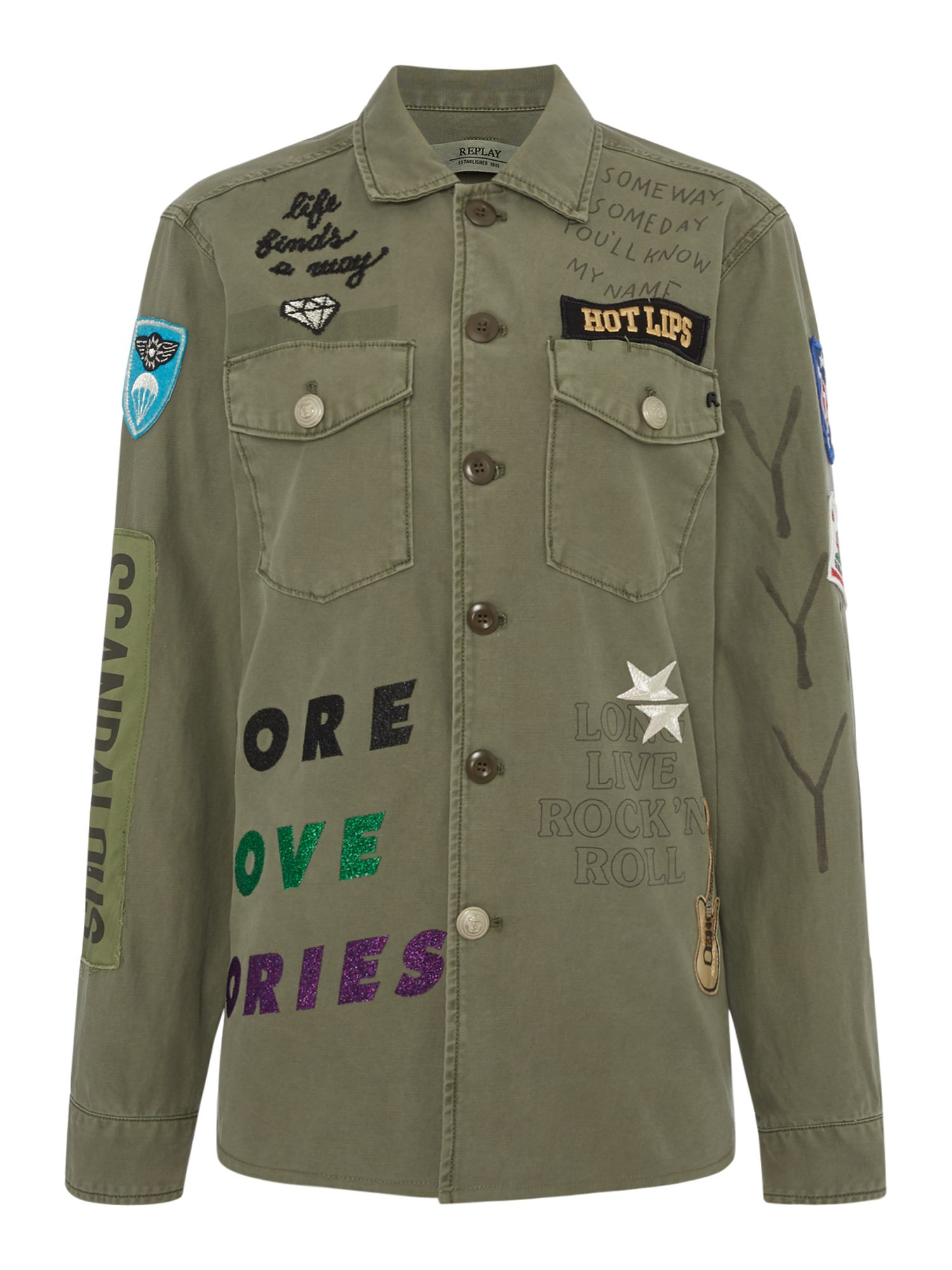 Replay Twill Shirt With Embroidery And Patches, Spinach