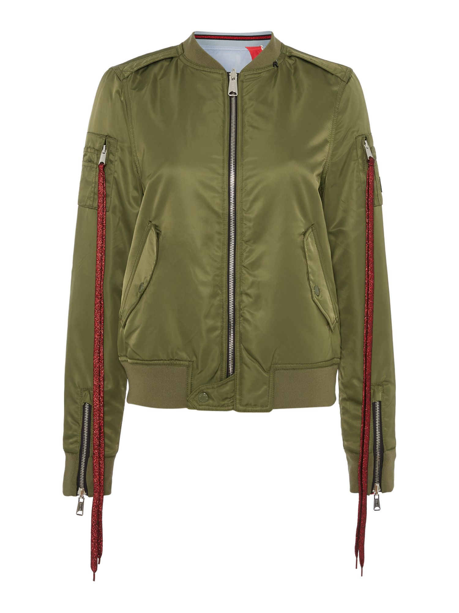 Replay Reversible Satin Bomber Jacket With Patches, Sage Green