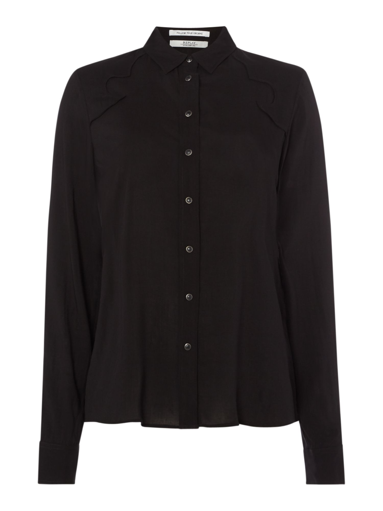 Replay Viscose Shirt, Black