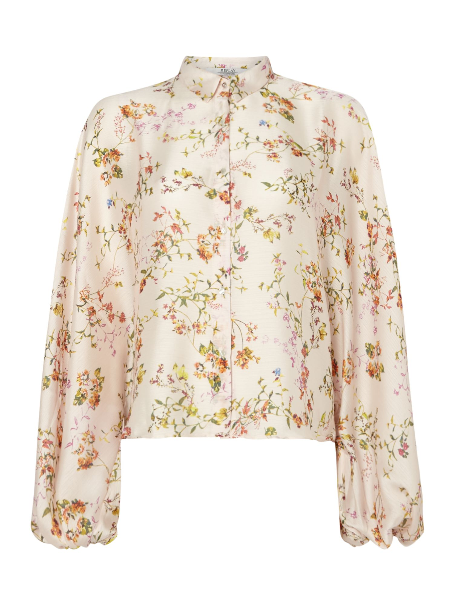 Replay Floral Shirt With Classic Collar, Multi-Pastel