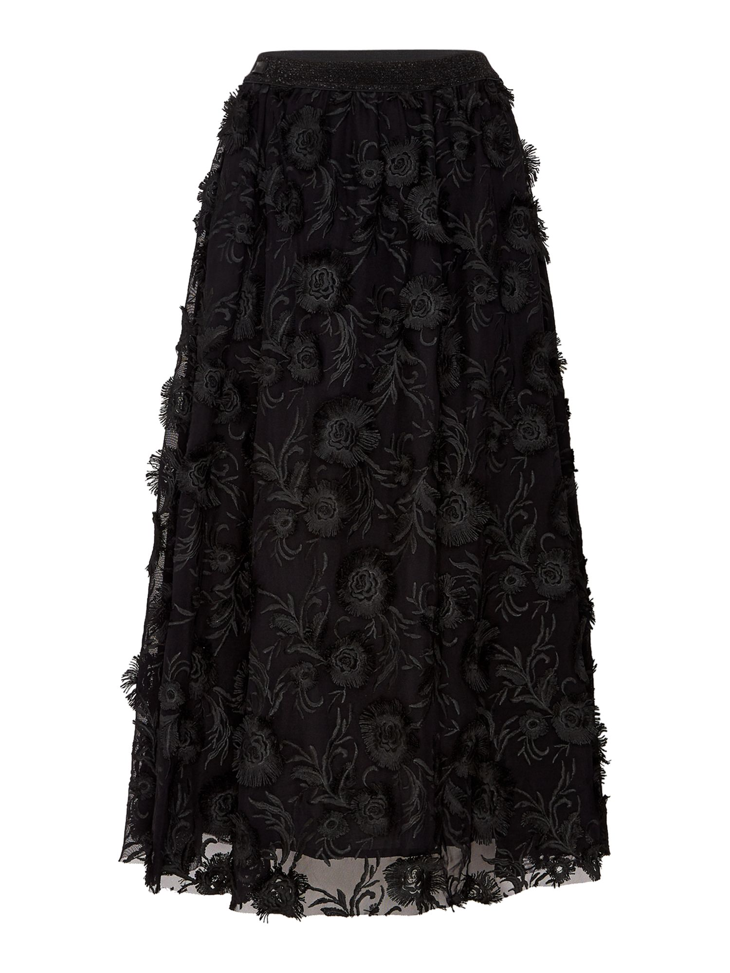 Replay Long Tulle Skirt With Floral Embroidery, Black