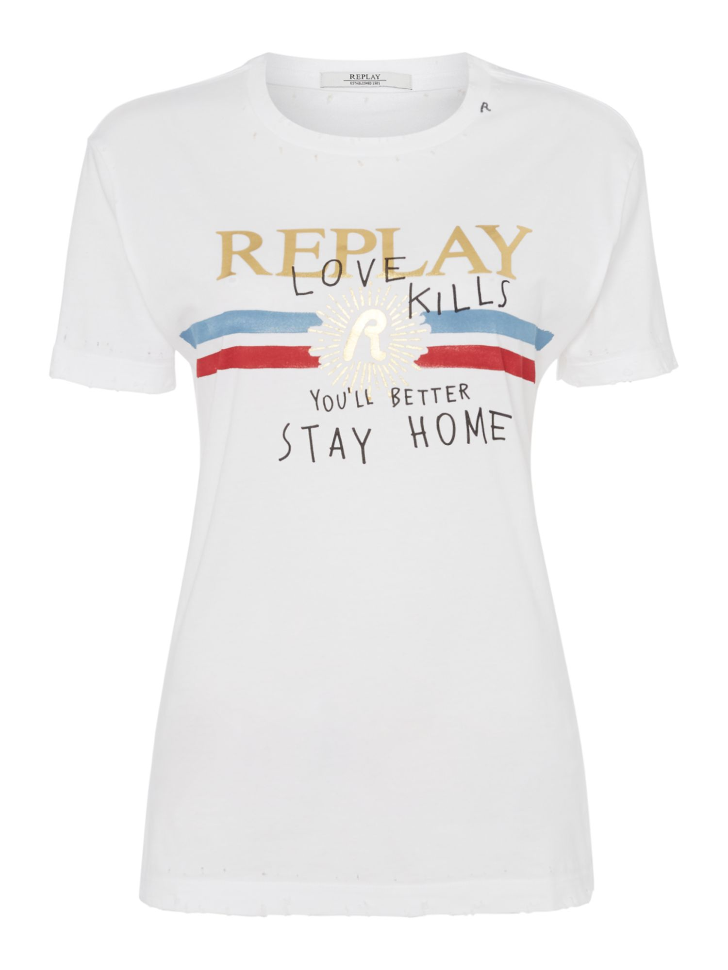 Replay Printed Cotton Jersey T-Shirt, White
