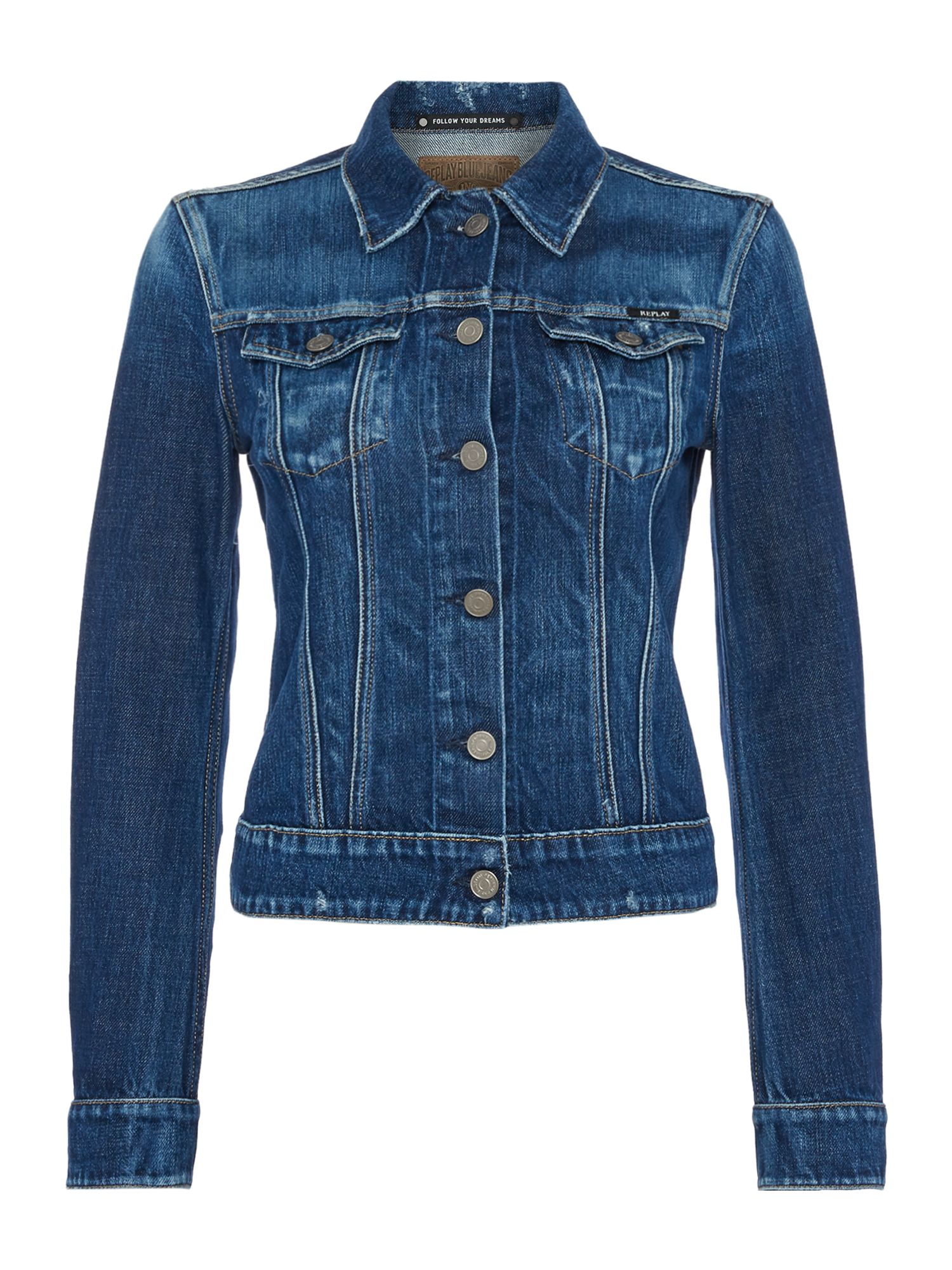 Replay Blue Replay Denim Jacket, Cobalt