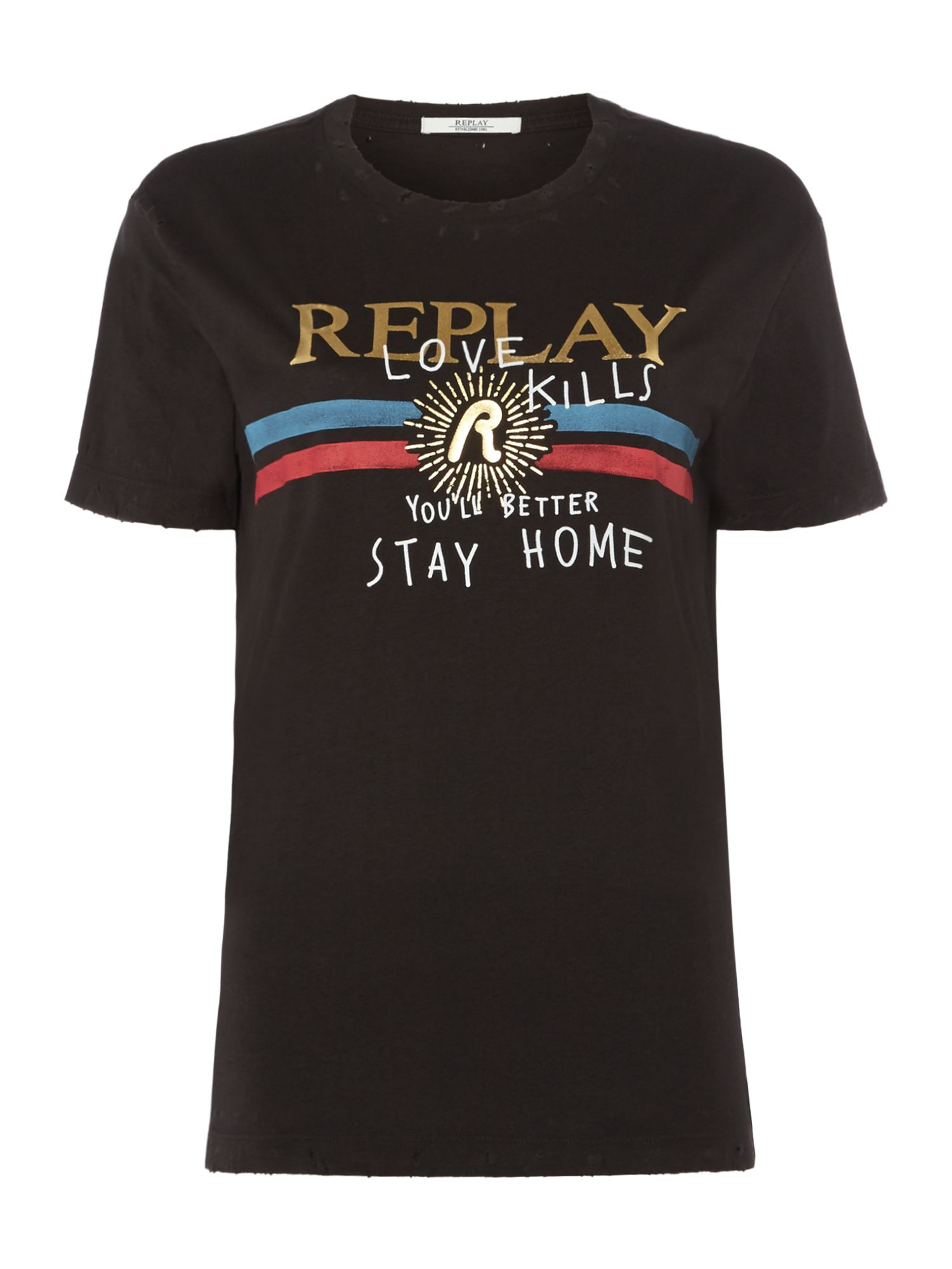 Replay Printed Cotton Jersey T-Shirt, Nearly Black
