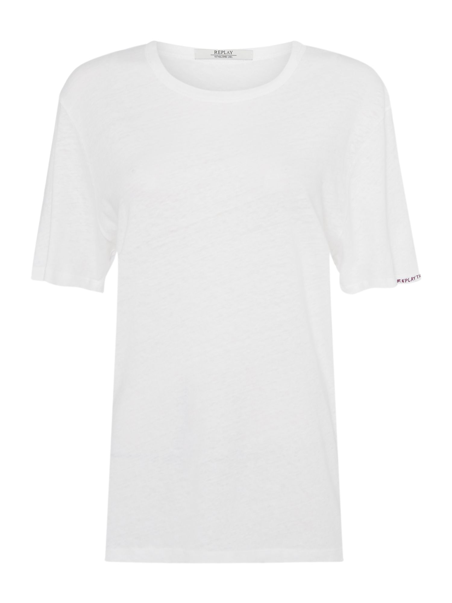 Replay Cotton Linen T-Shirt, White