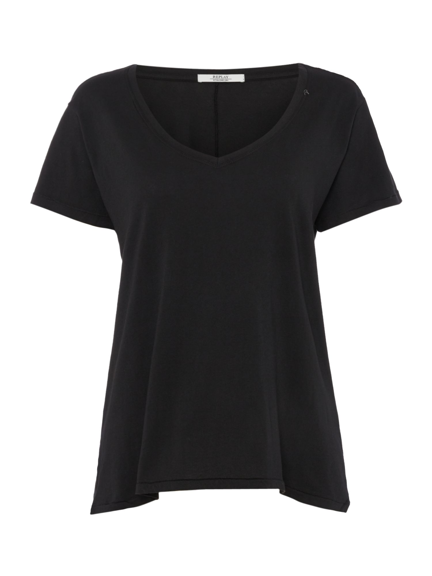 Replay Garment-Dyed Cotton T-Shirt, Black
