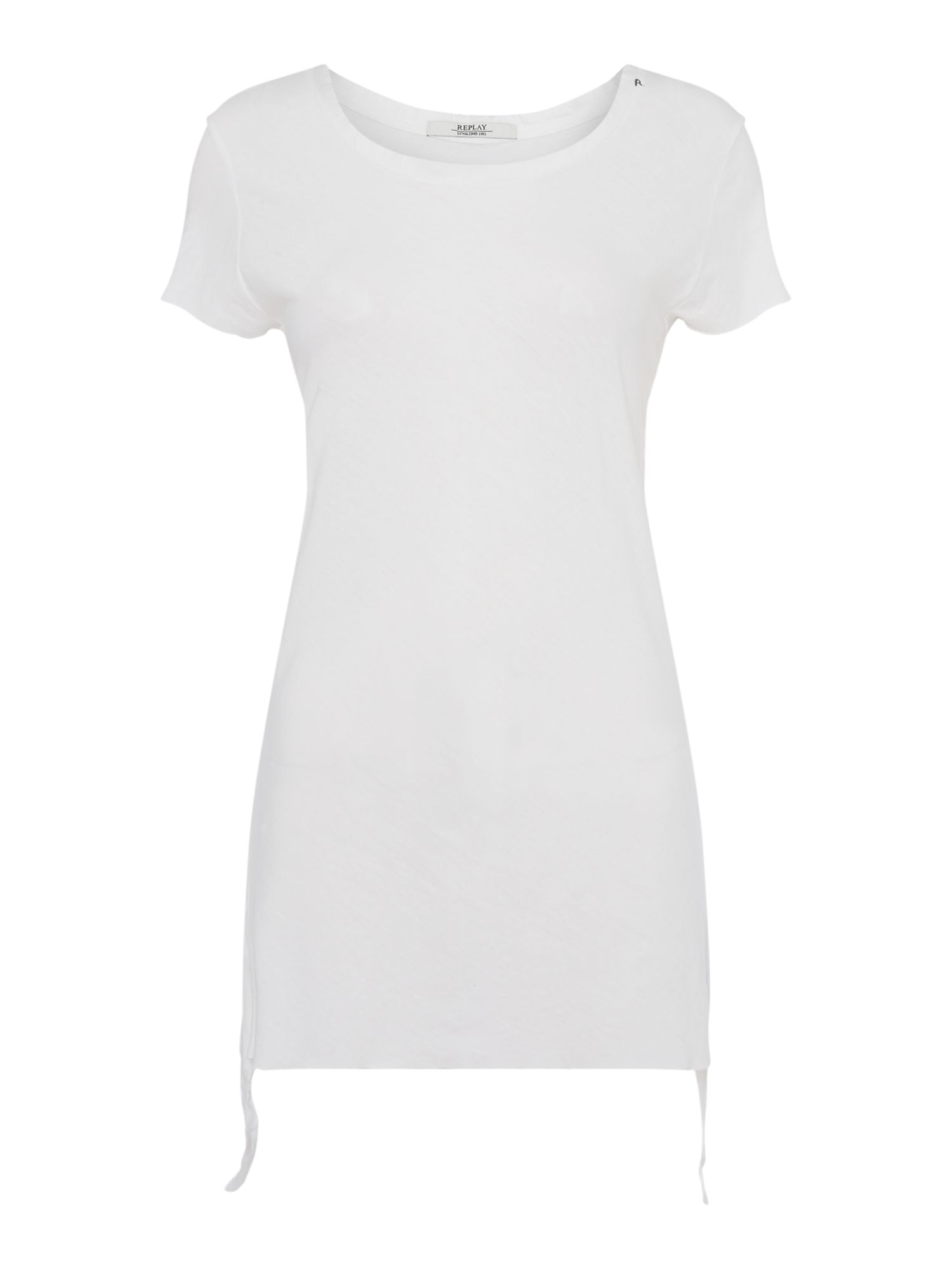 Replay Longline T-Shirt With Side Straps, Optical White