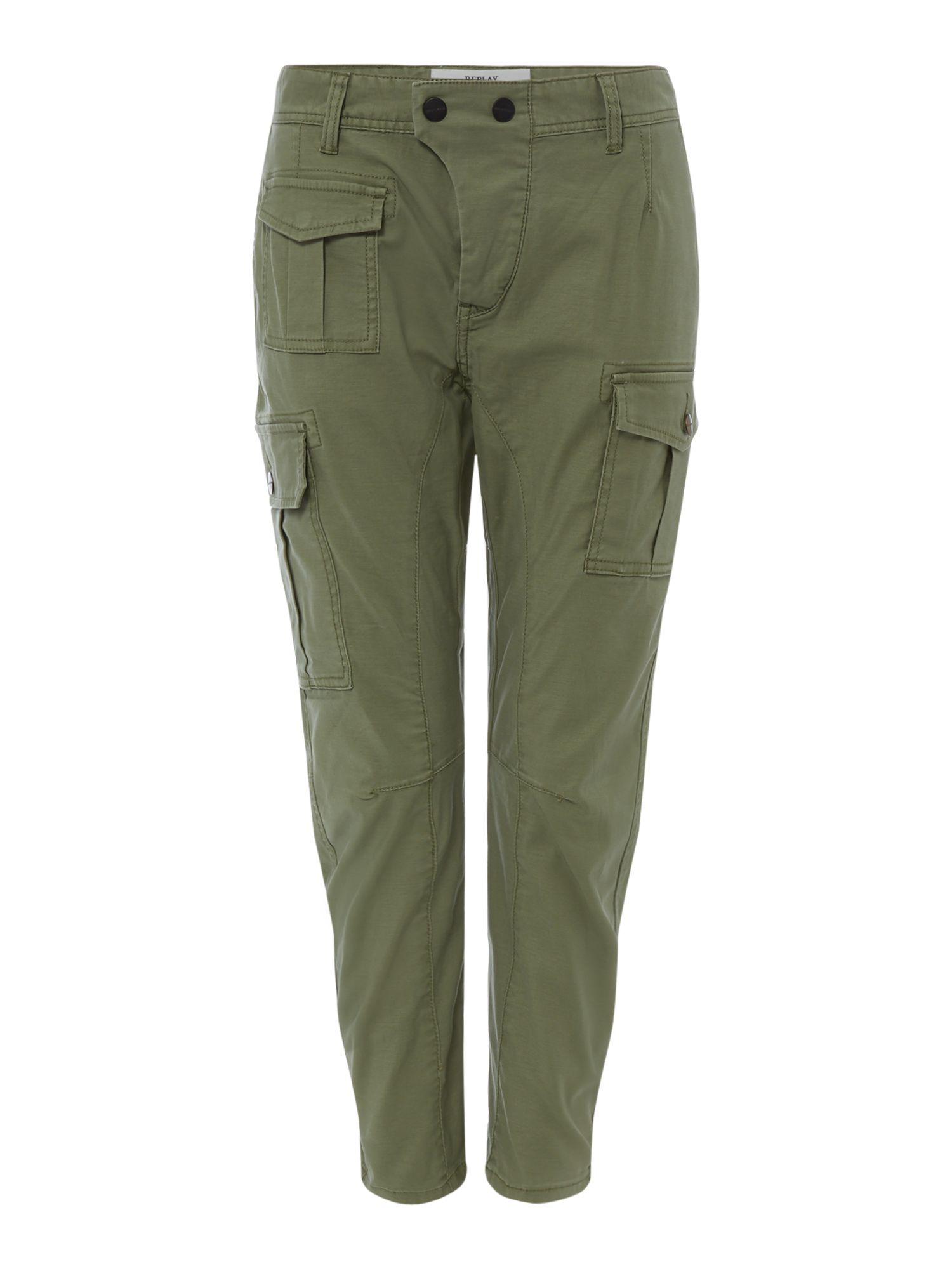 Replay Satin Cargo Trousers, Green