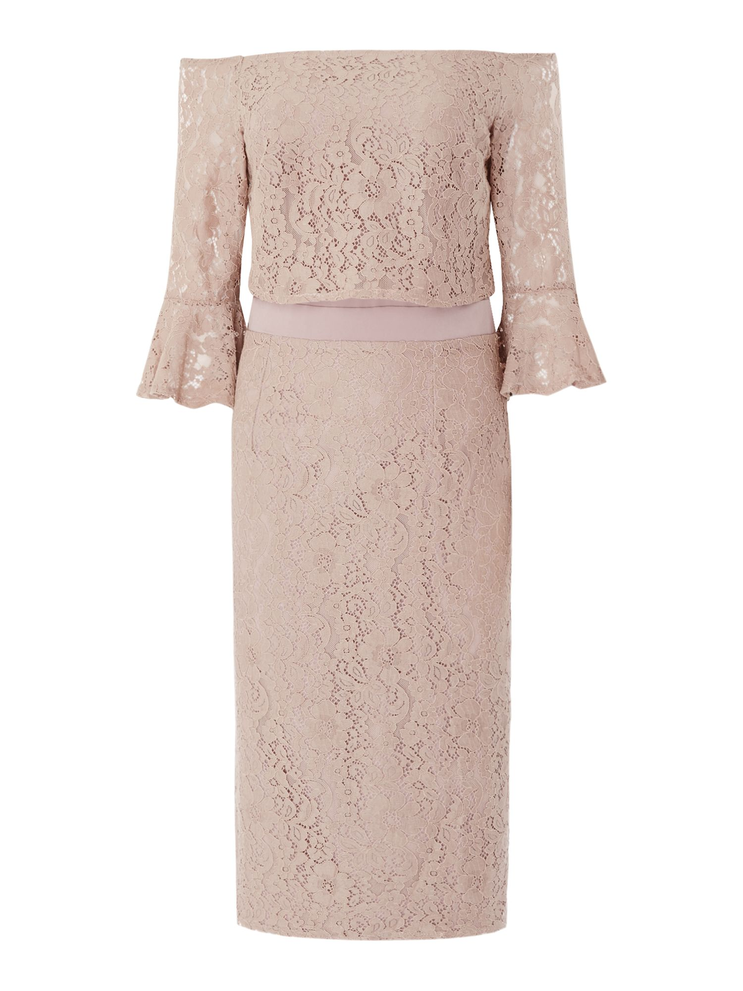 Little Mistress Lace shift dress with bell sleeves, Pink