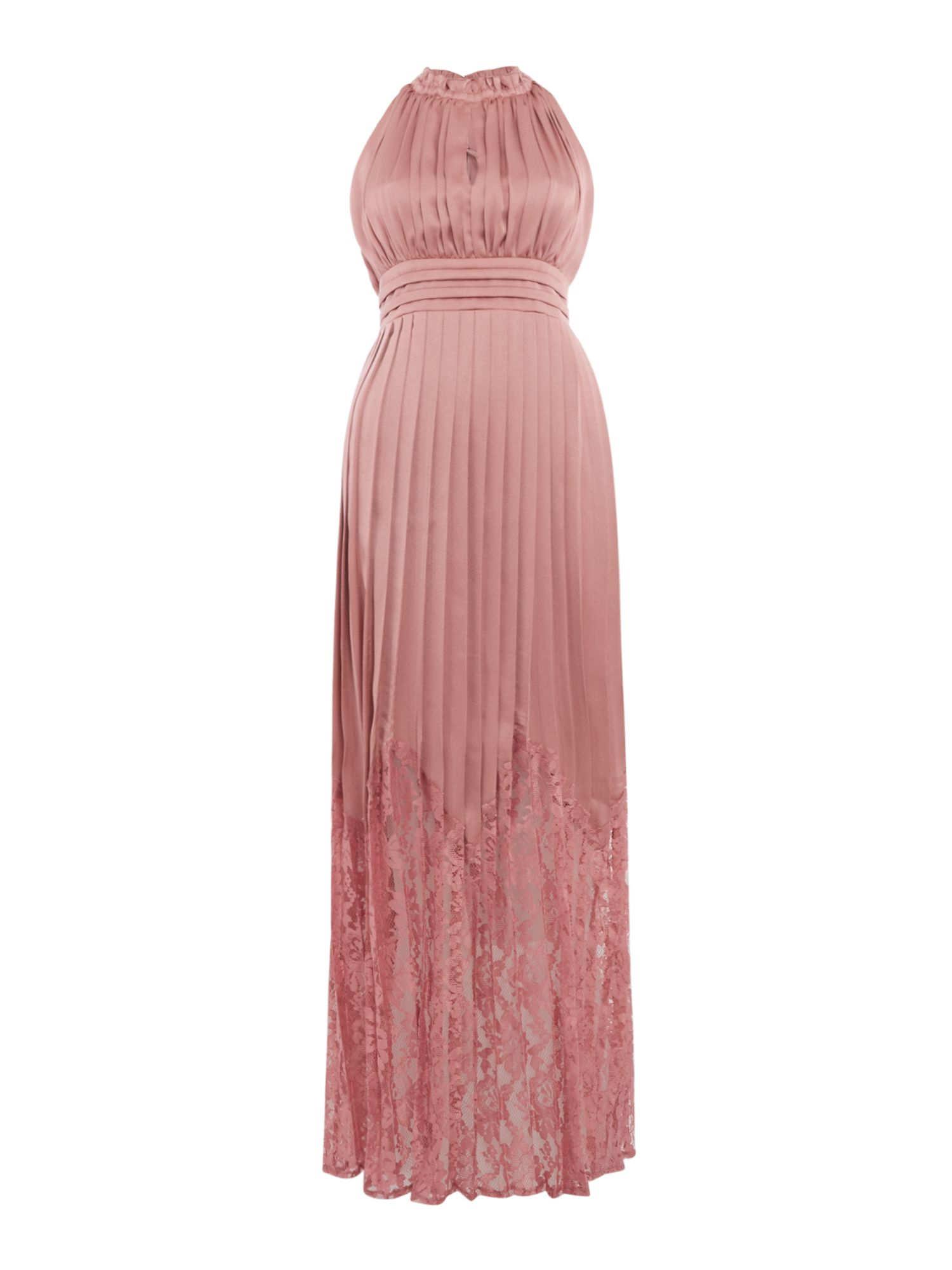 Little Mistress Pleated high neck gown, Pink