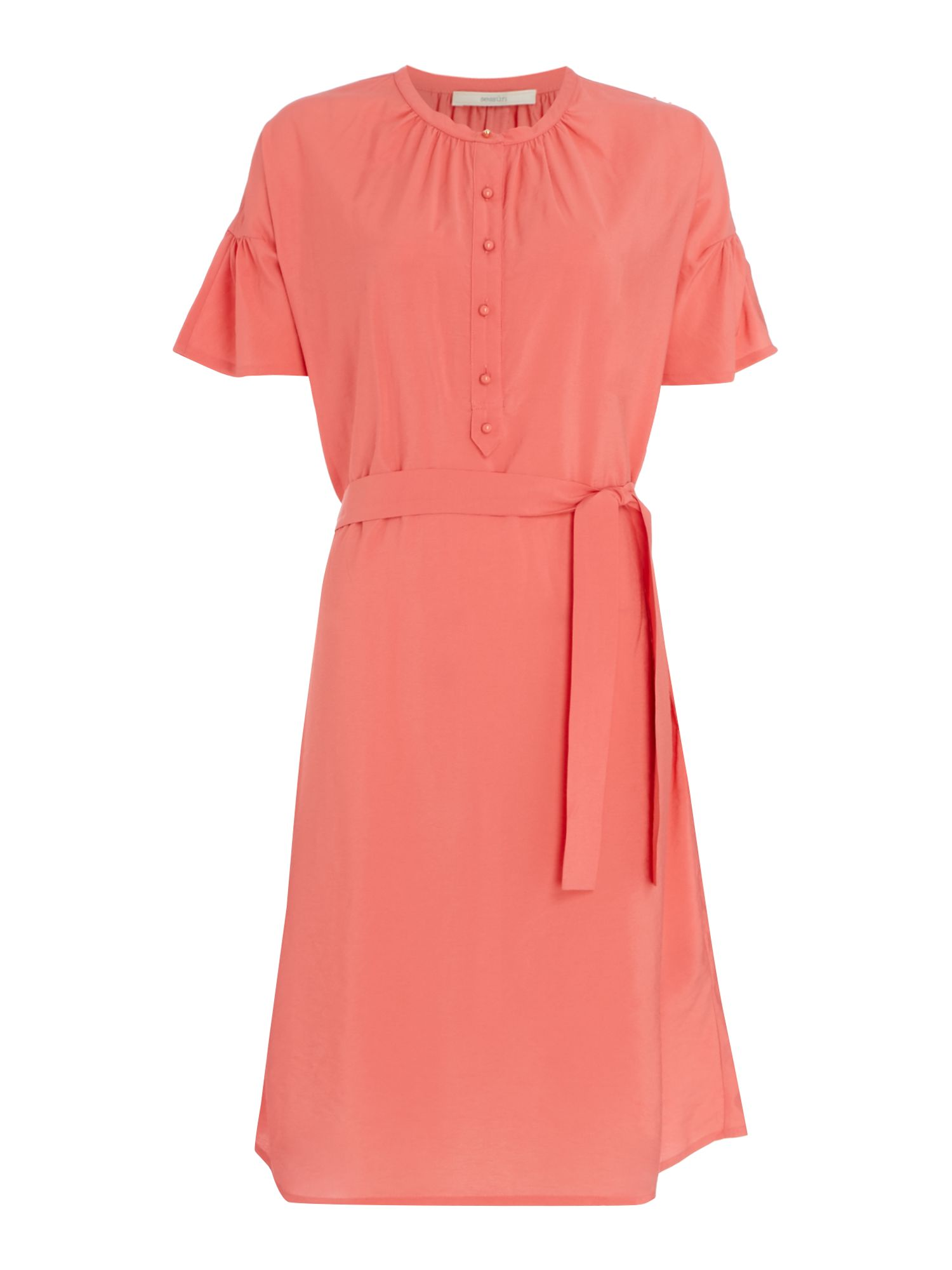 Sessun Charles harper belted dress with flounce sleeve, Pink