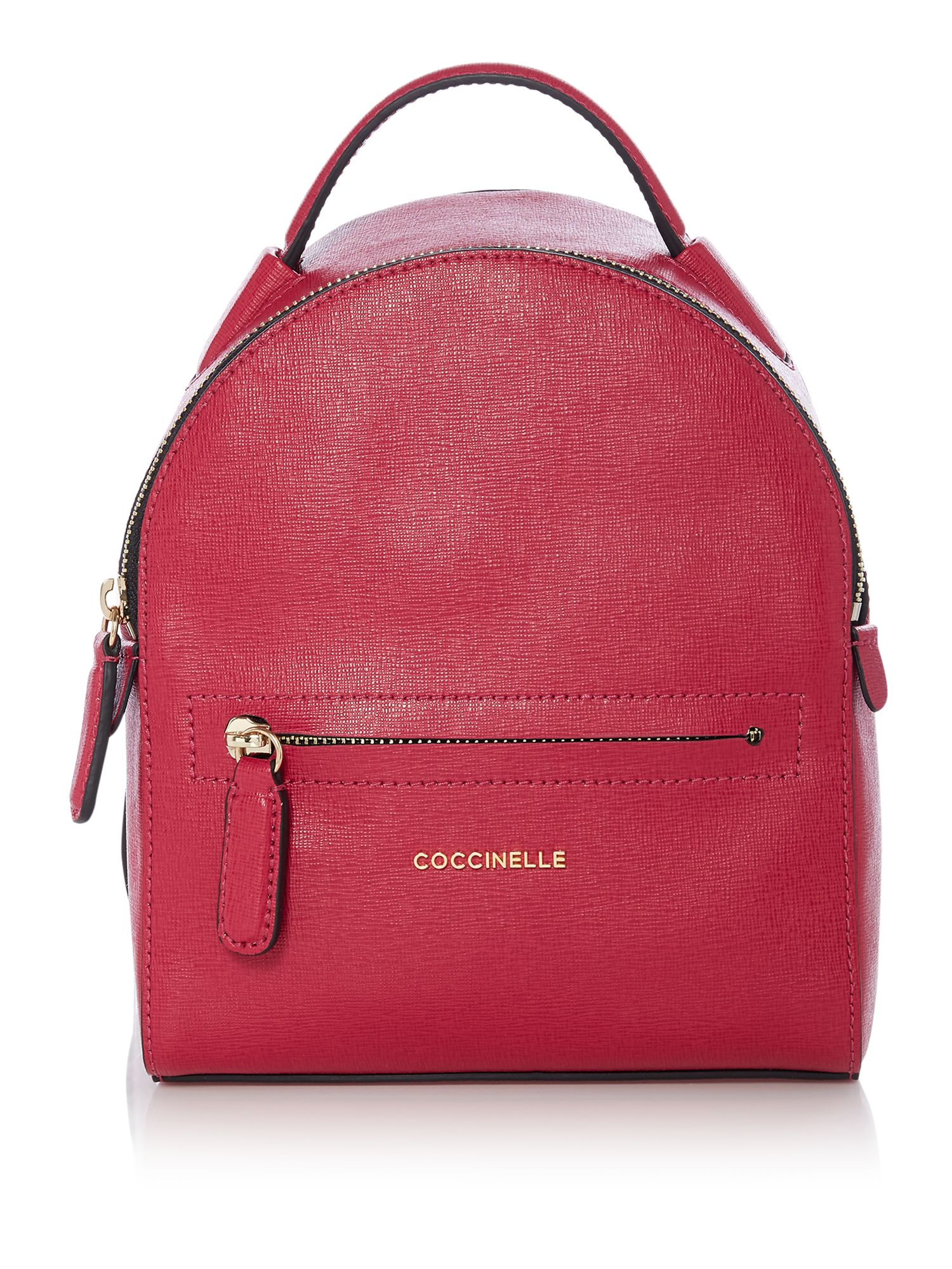 Coccinelle Clementine saffiano mini backpack, Dark Pink