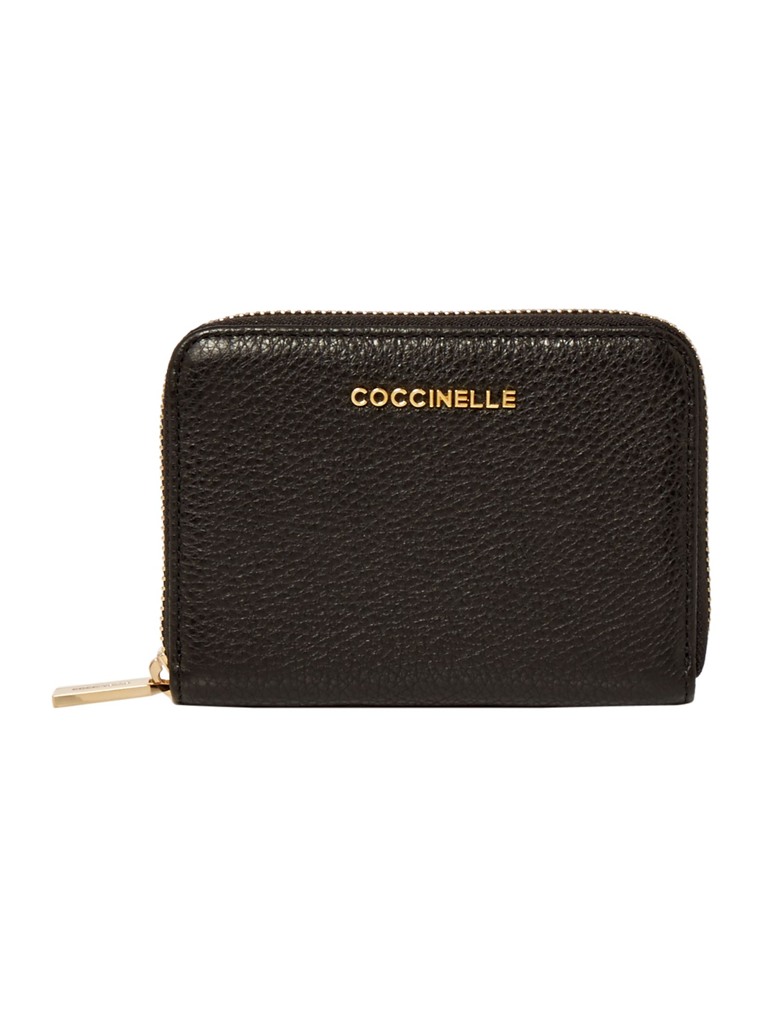 Coccinelle Metallic soft leather small zip around, Black