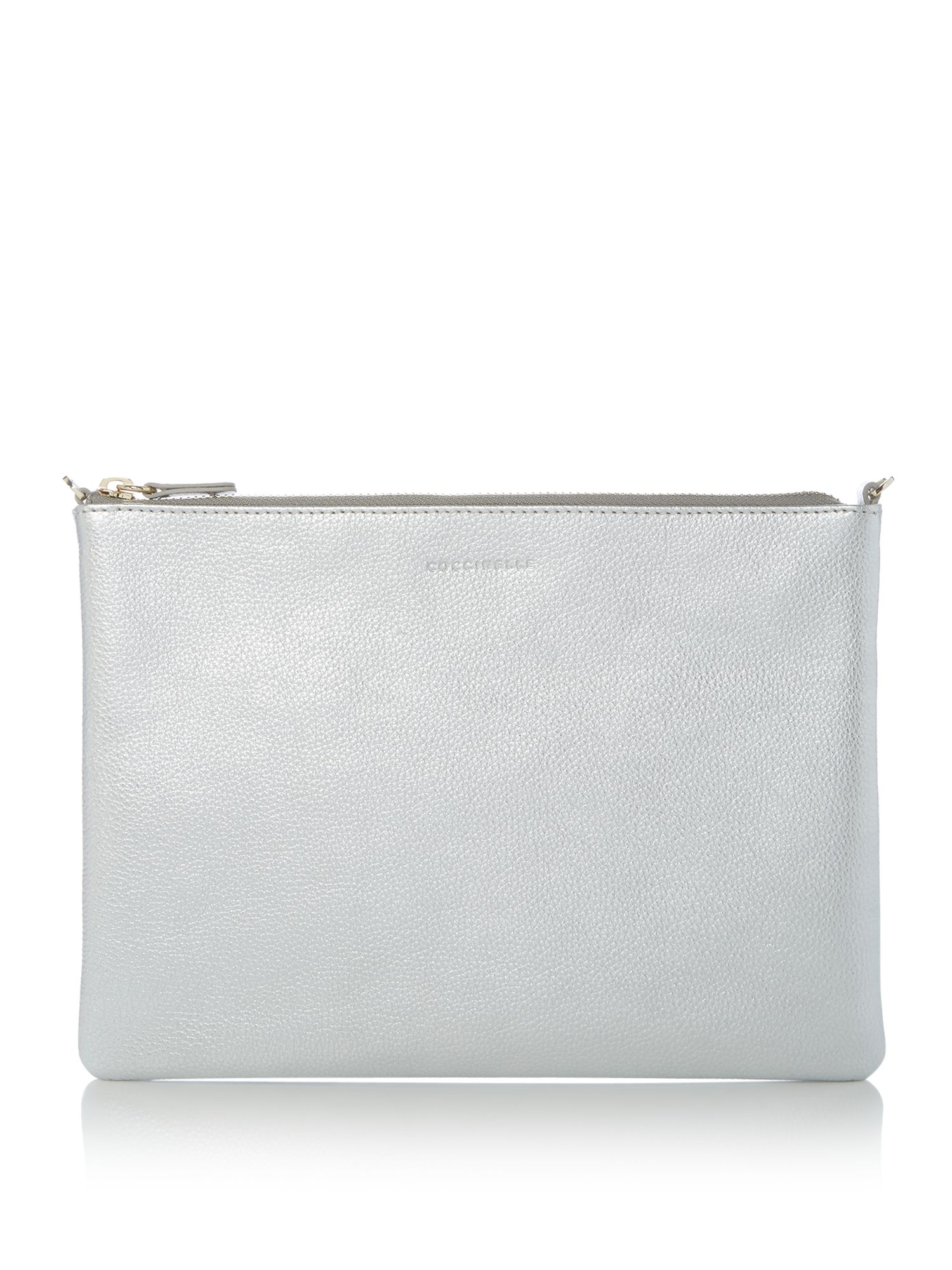 Coccinelle Best soft leather cross body pouchette, Silver