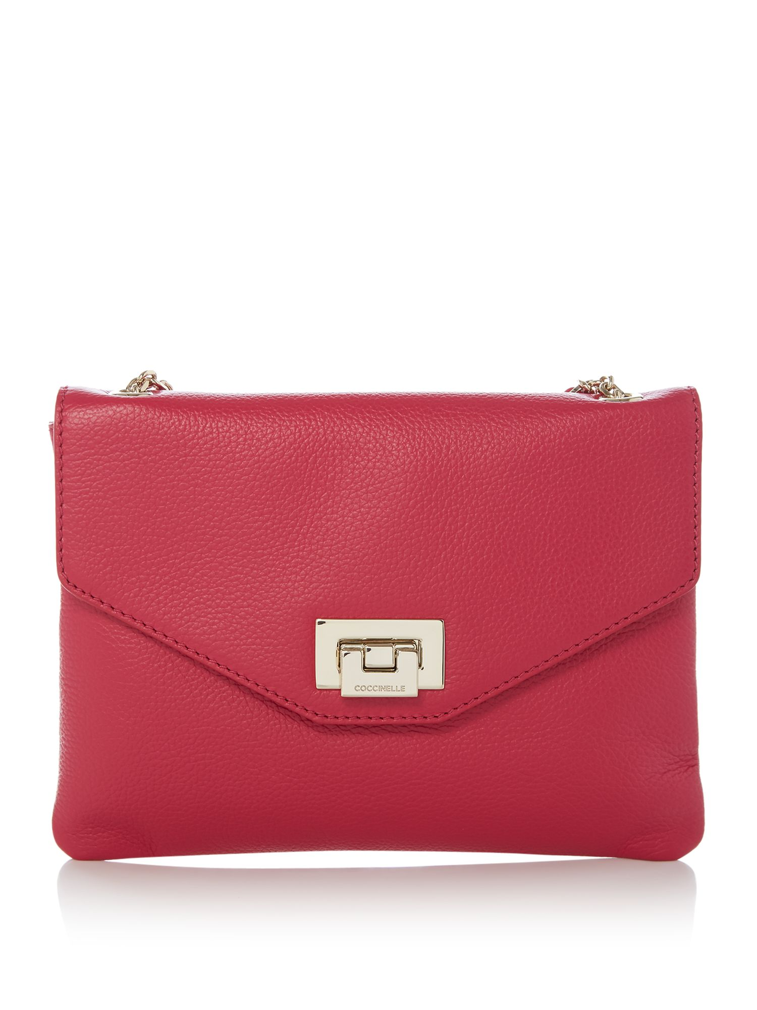 Coccinelle Florie clutch with chain strap, Dark Pink