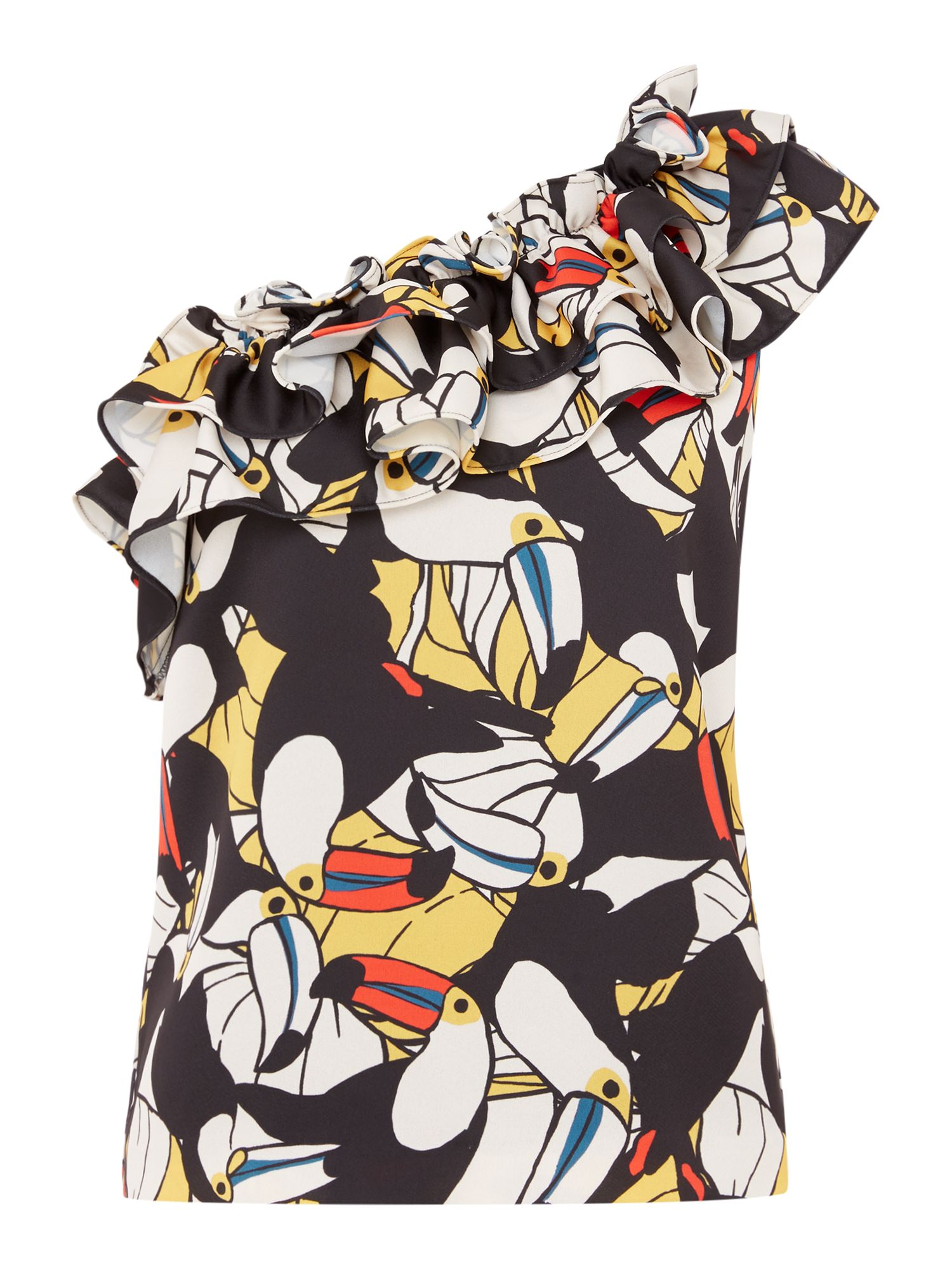 ISSA Aimee toucan print one shoulder top, Multi-Coloured