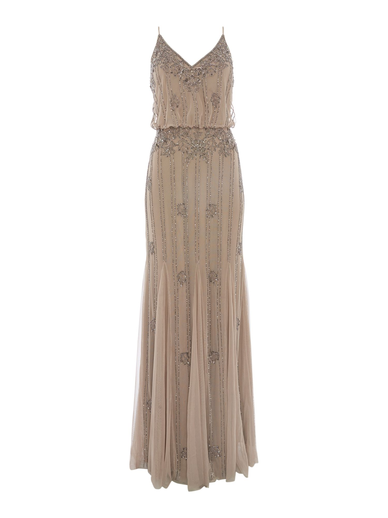 Lace and Beads Blouson Embellished Maxi Dress, Nude