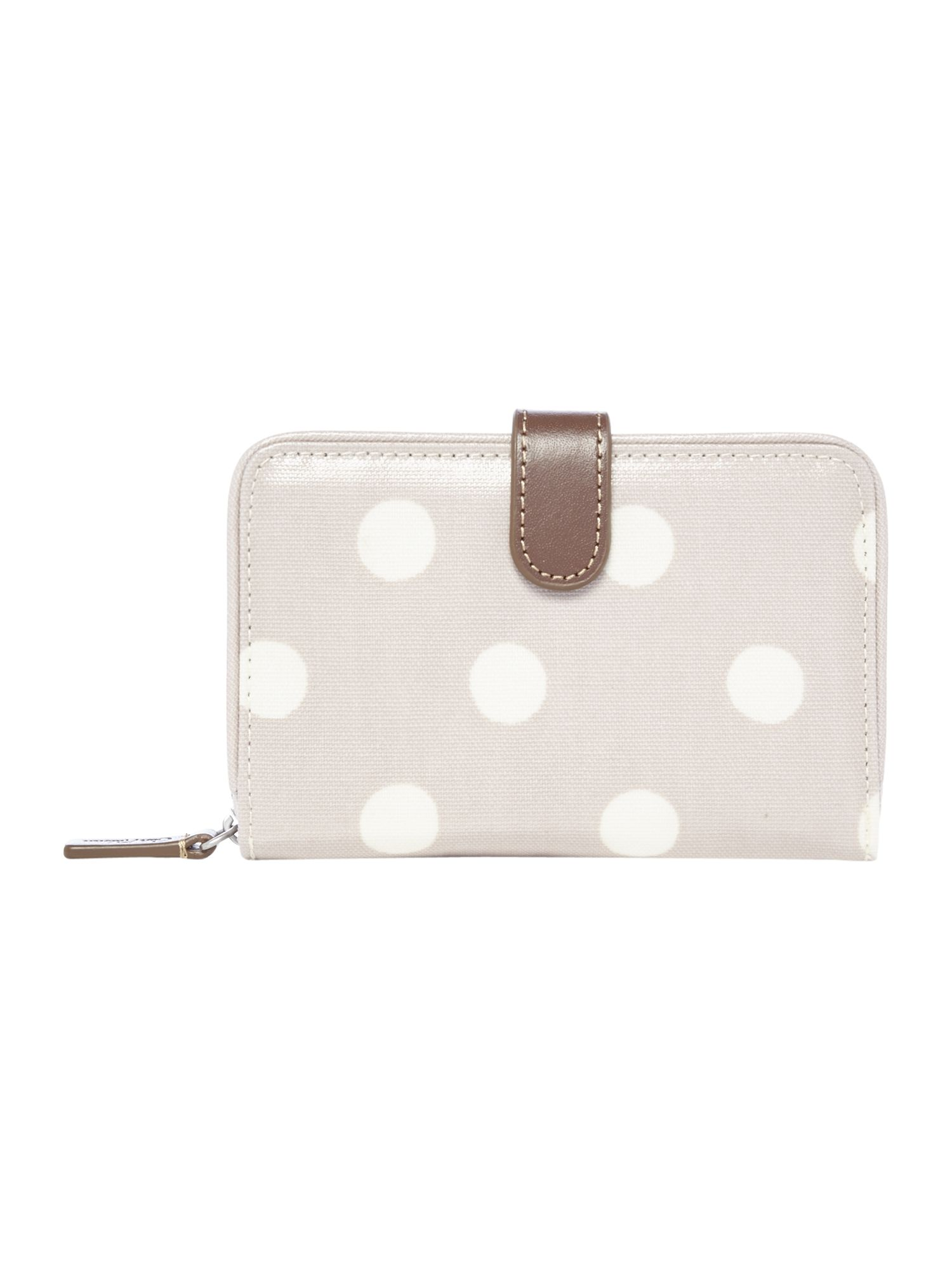 Cath Kidston Button spot folded zip purse, Taupe