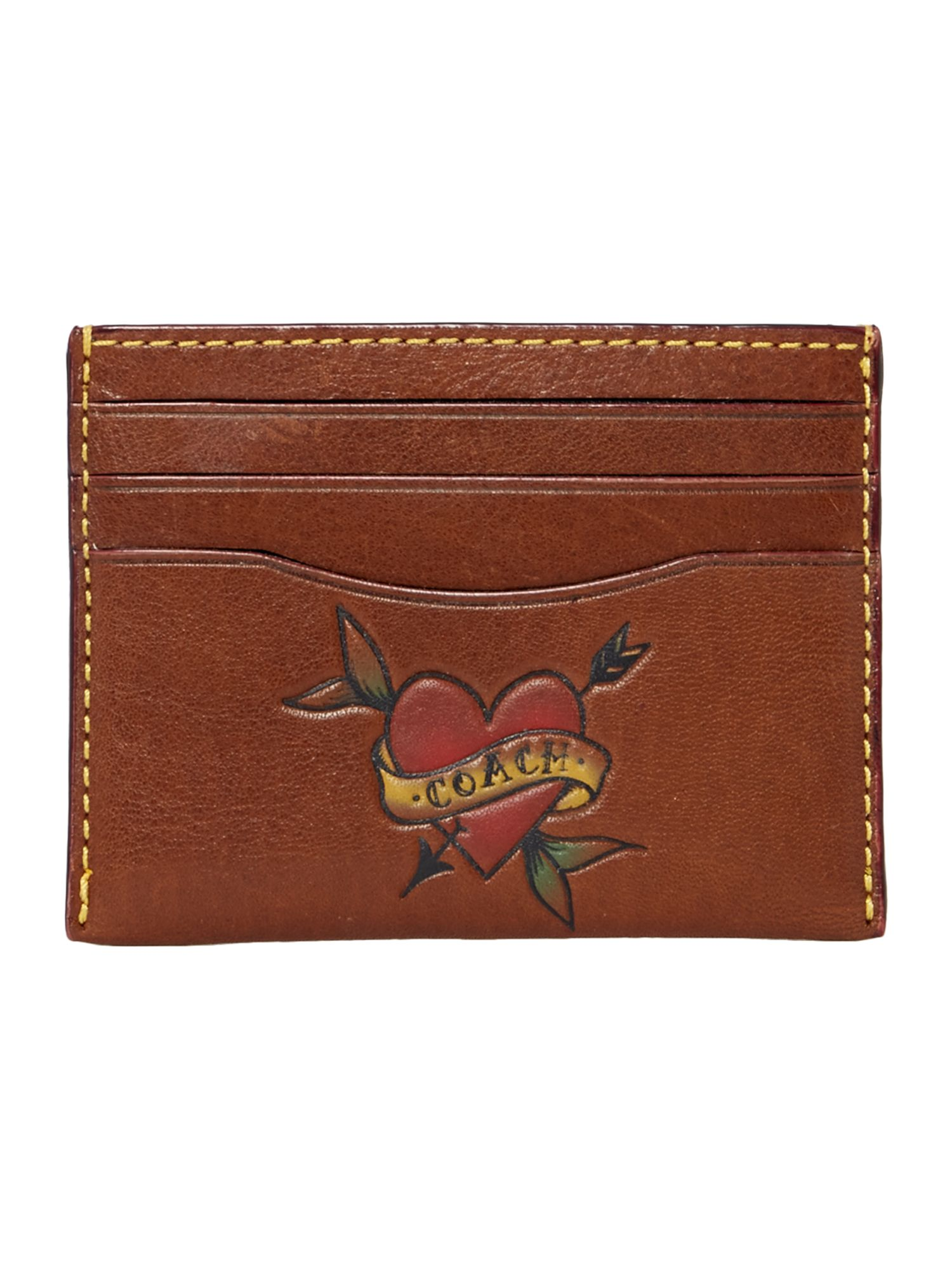 Coach Card Case In Tattoo Sport Calf, Brown