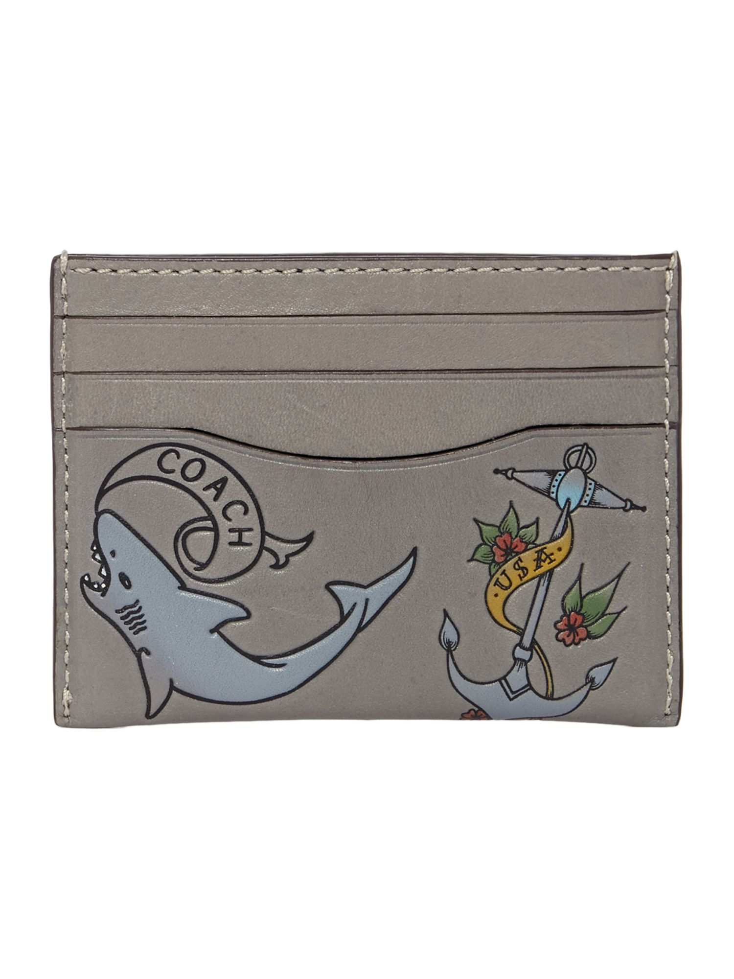 Coach Card Case In Tattoo Sport Calf, Grey