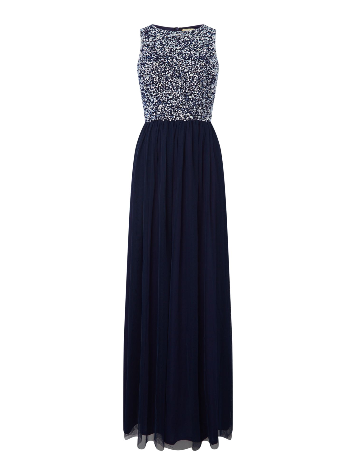 Lace and Beads High neck embellished maxi dress, Blue
