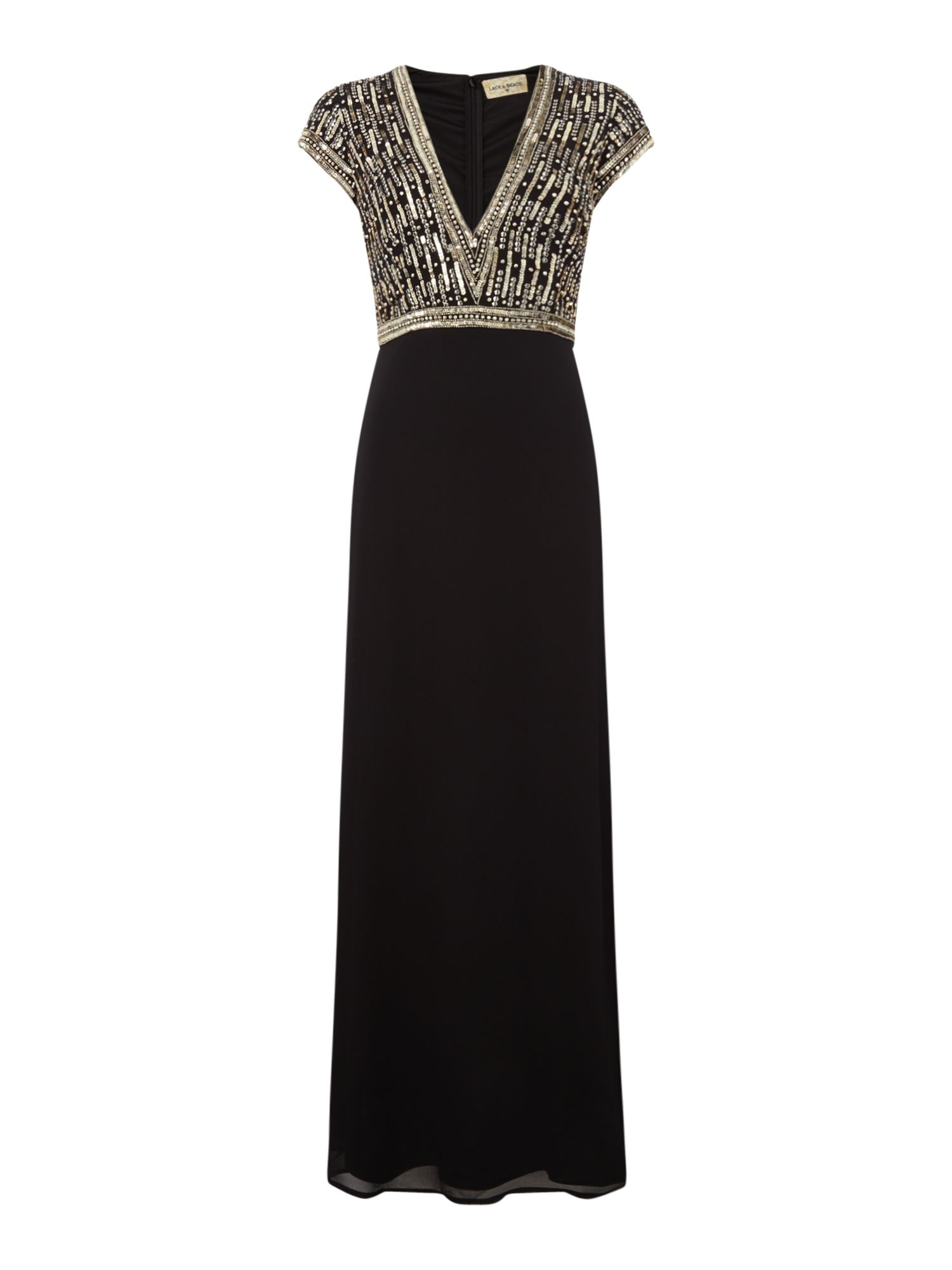 Lace and Beads V neck embellished gown, Black
